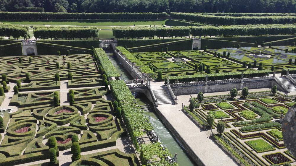 Trädgårdsanläggning vid slottet i Villandry