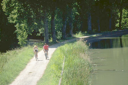 cykelvägen längs canal de bourgogne.