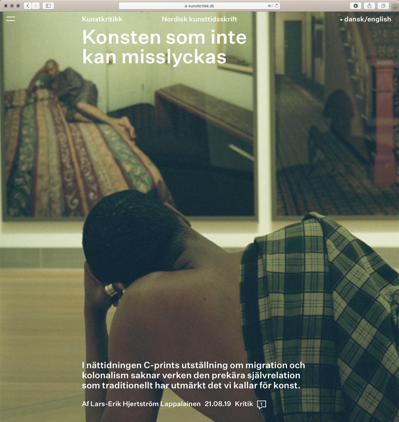 """""""Kunstkritikk"""" review of 'Absolute Affirmation'https://kunstkritikk.se/konst-som-inte-kan-misslyckas/ - Av Lars-Erik Hjertström Lappalainen 21.08.19"""