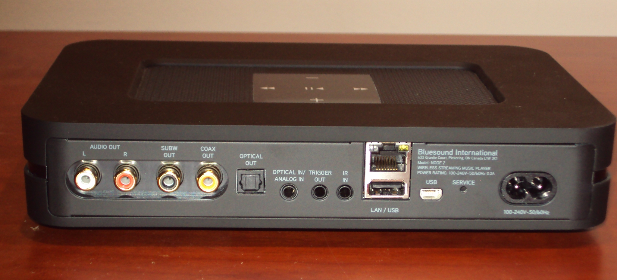 bluesound node 2 back panel