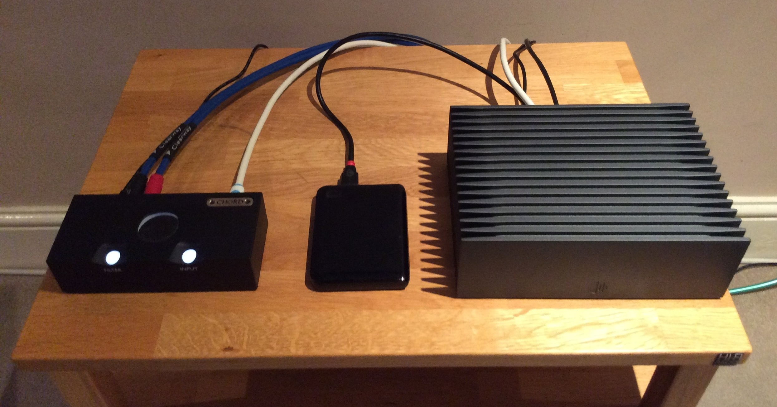 From the right: Roon Nucleus Plus Server - 500GB WD USB Drive - Chord Qutest USB DAC