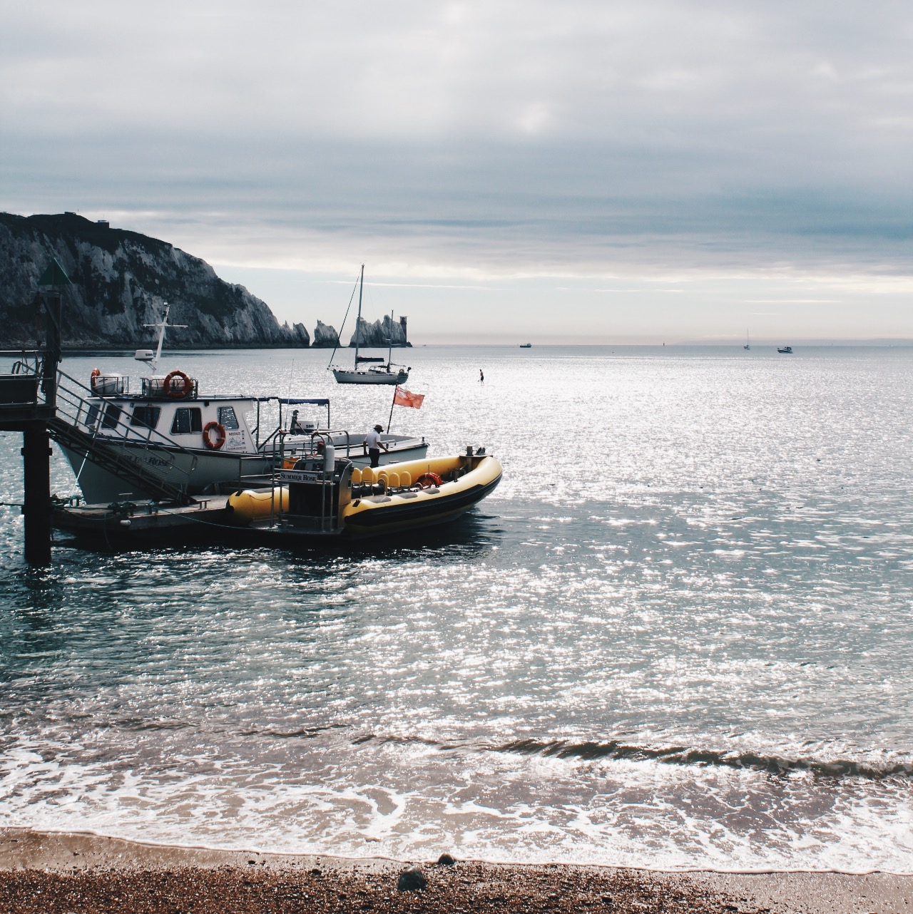 The boat runs regularly from the beach near the Needles.