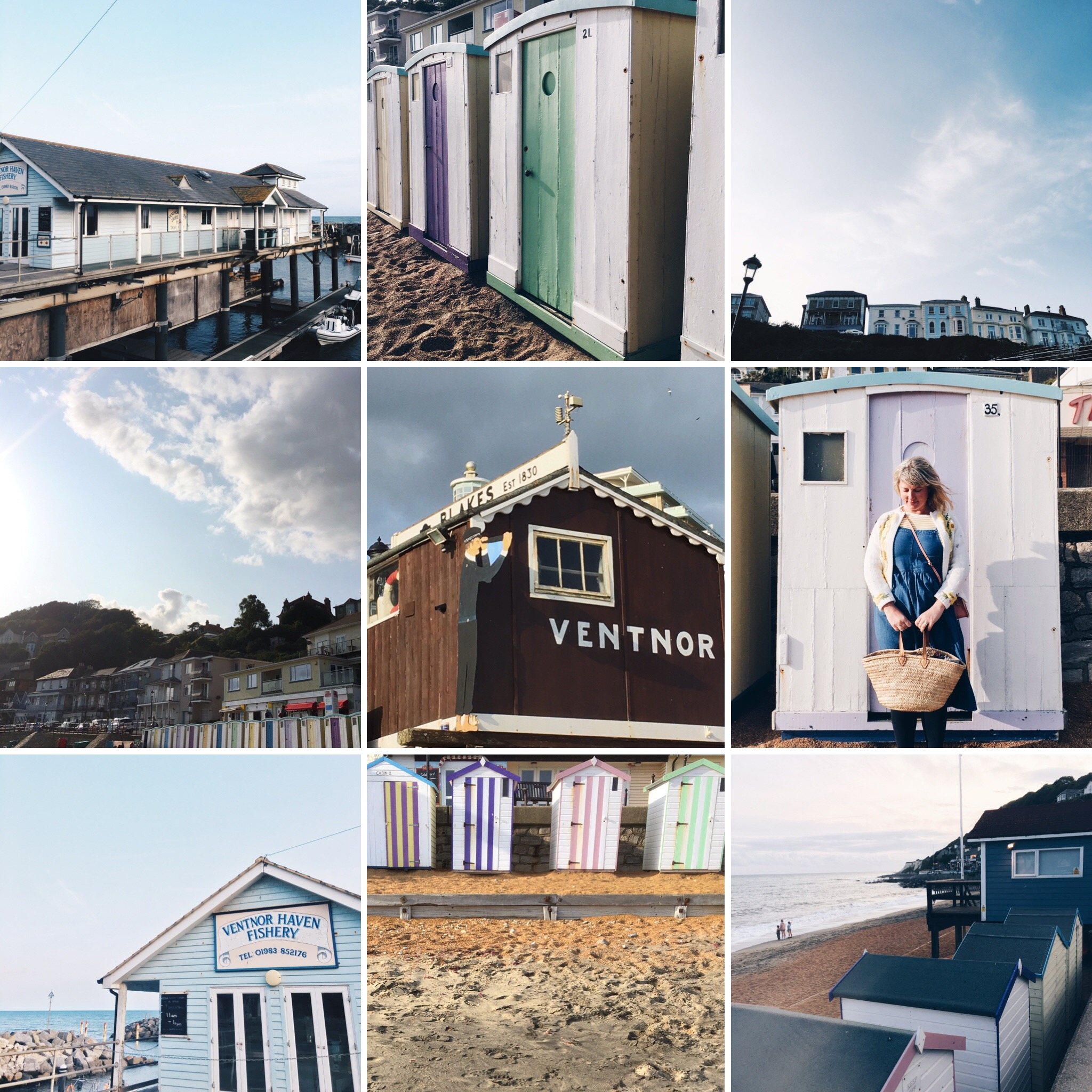 The vintage beach huts on Ventnor beach are painted in pastel colours.  The fishery serves freshly caught fish in the daytime.  The sand is a gorgeous golden colour.