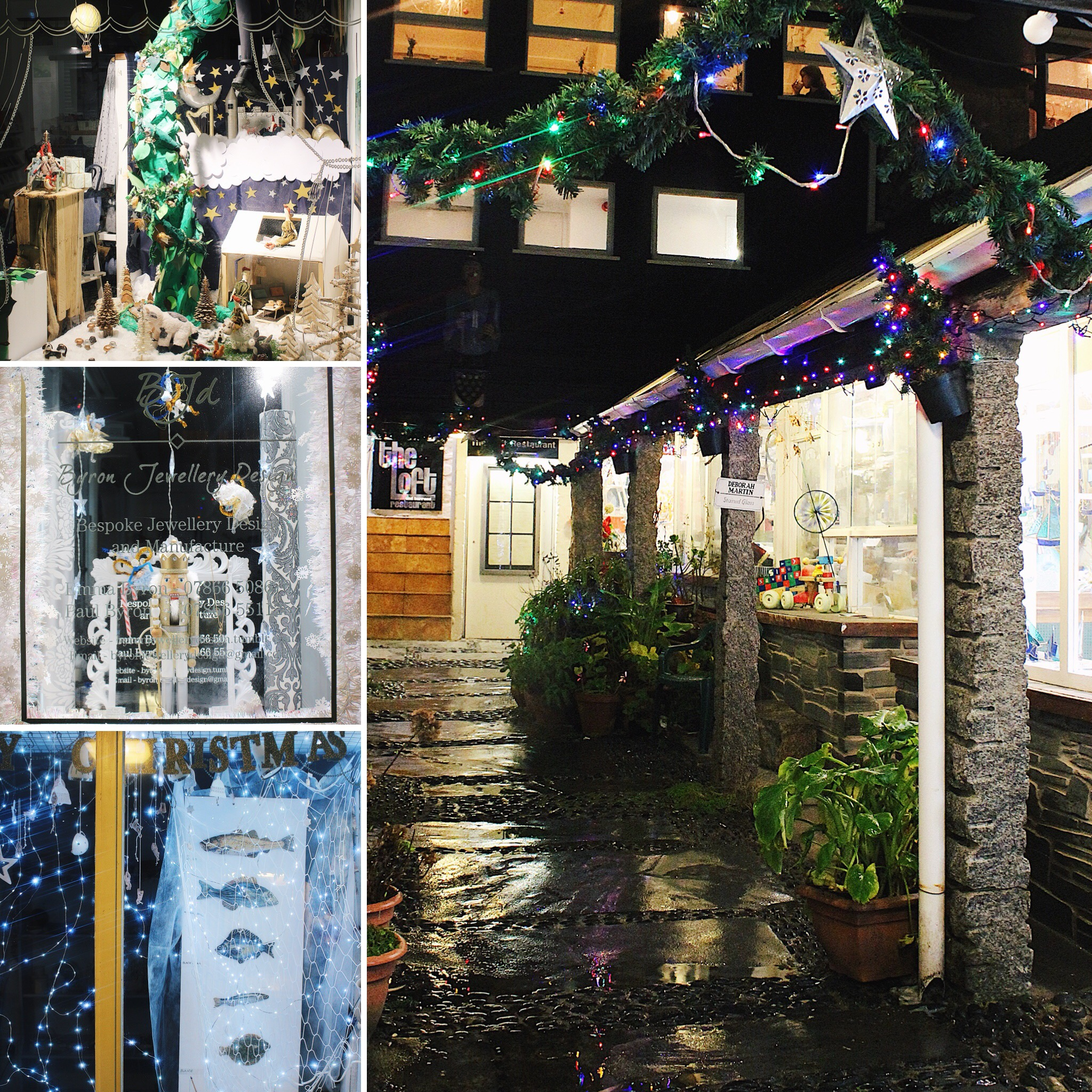 The pretty windows in St Ives Craft Centre. Even on a wet evening they give the perfect festive glow.
