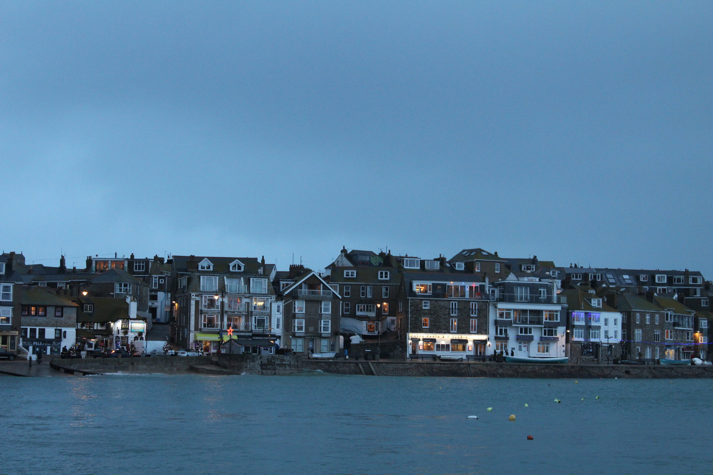 The harbour at dusk. The blues intensify as the sun goes down.