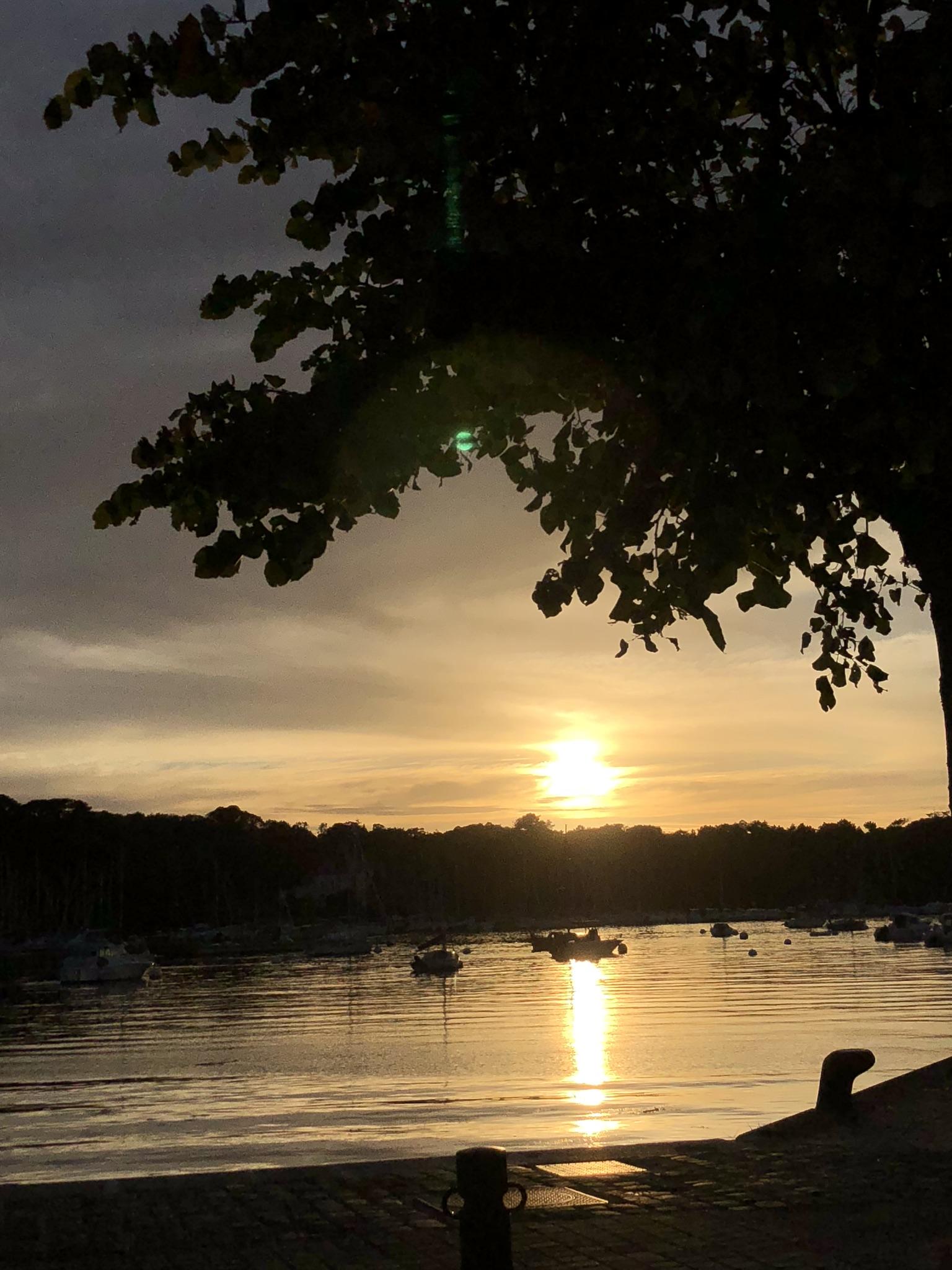The sun setting over Benodet marina.