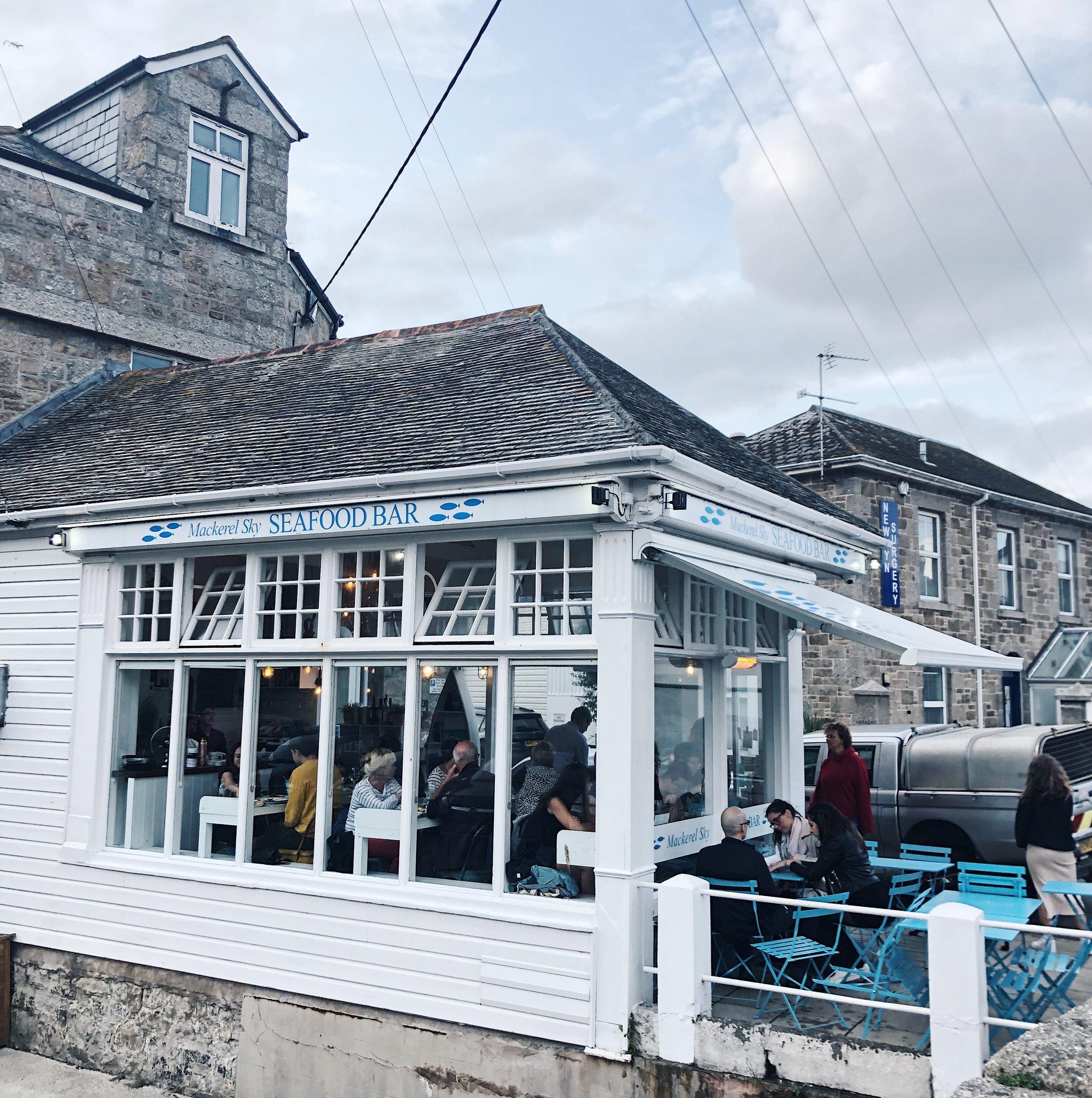 The cute and wonderful Mackerel Sky Seafood Bar in Newlyn.