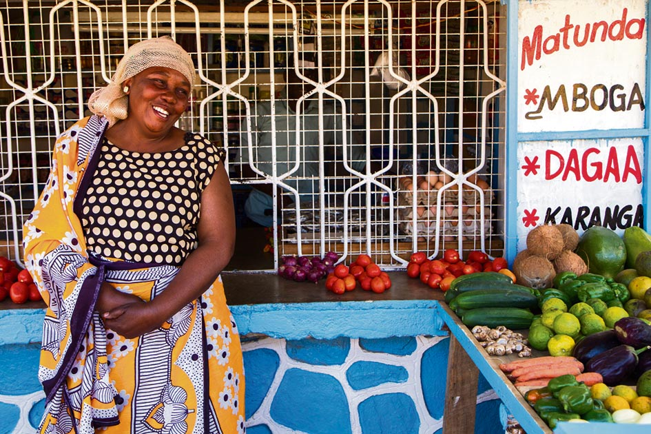 Growing a trade: Hamida, who uses mobile technology to expand her fruit-and-vegetable business, near Iringa, in Tanzania