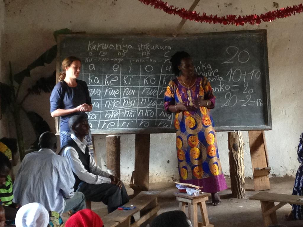 Our CEO Rachel visits a literacy group with Programme Leader, Claudette.