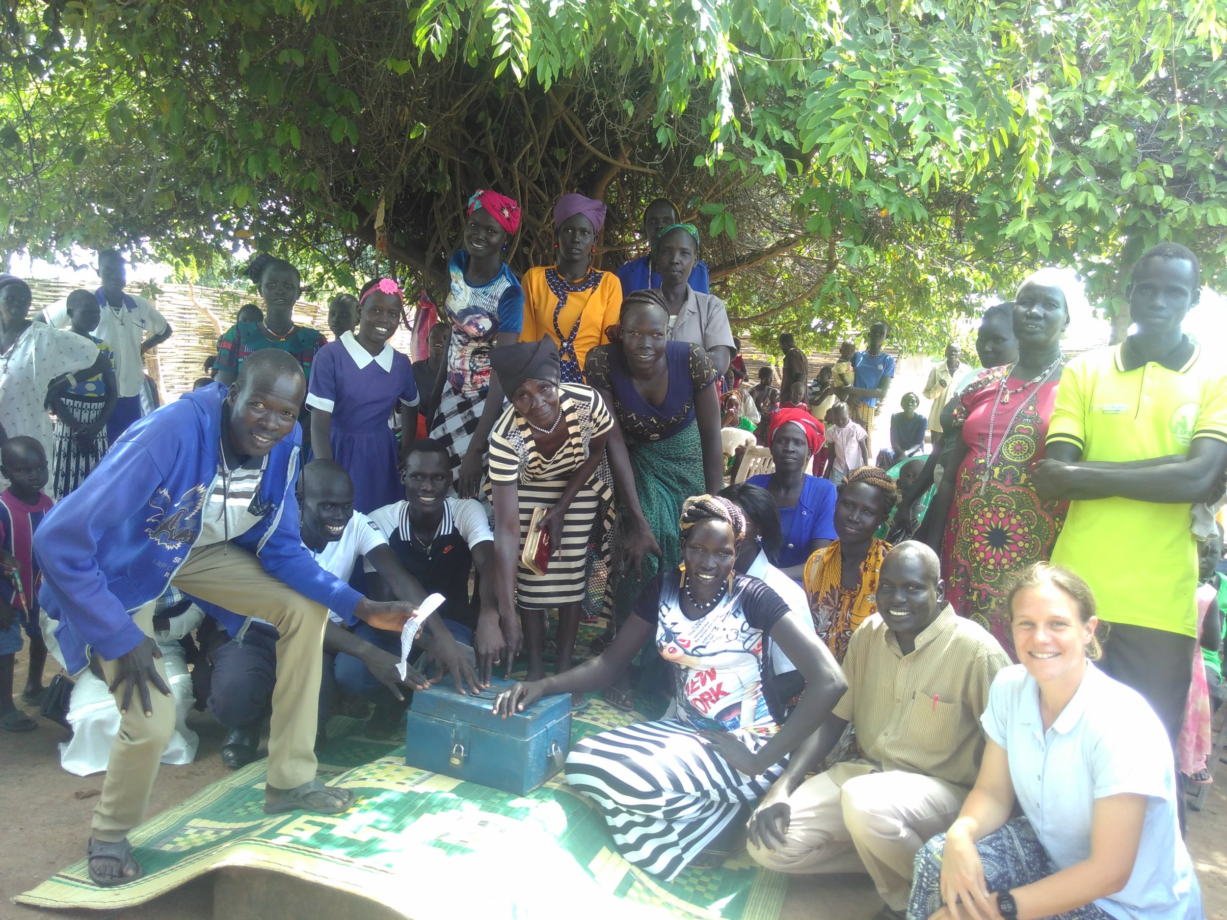 Rachel sits with a group in South Sudan.