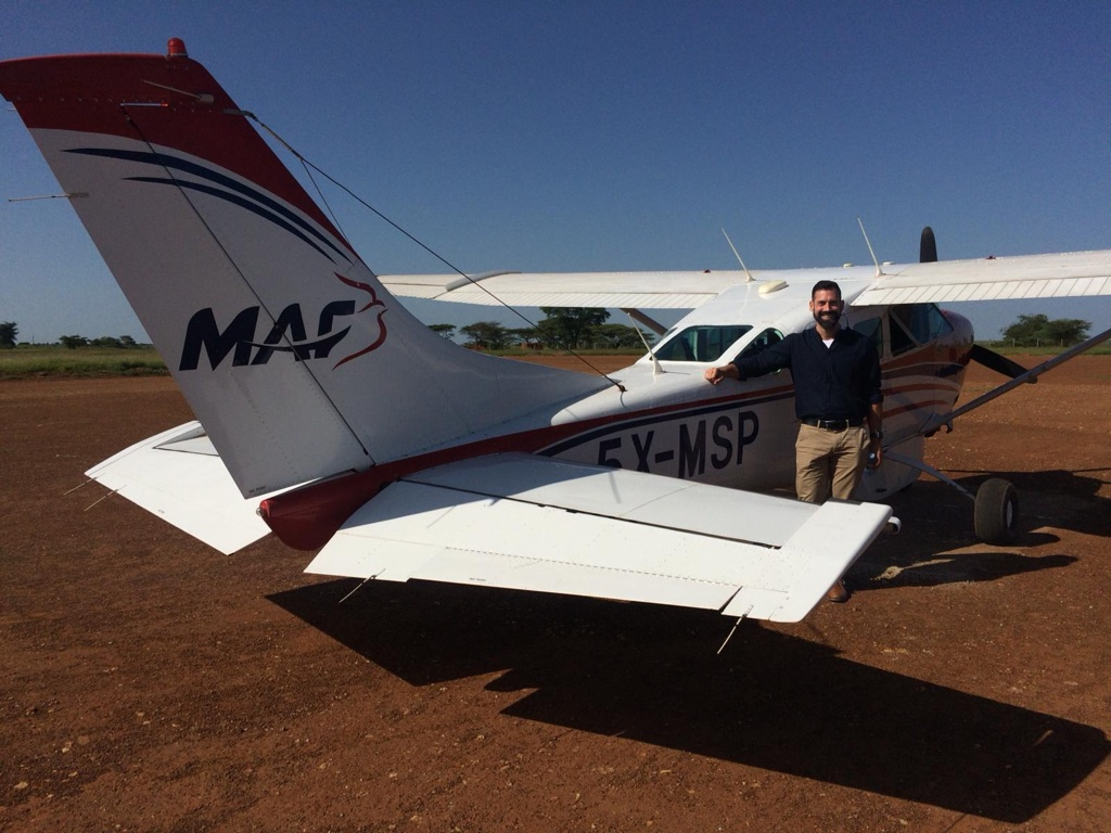 Charles after landing at Moroto airport in Uganda.