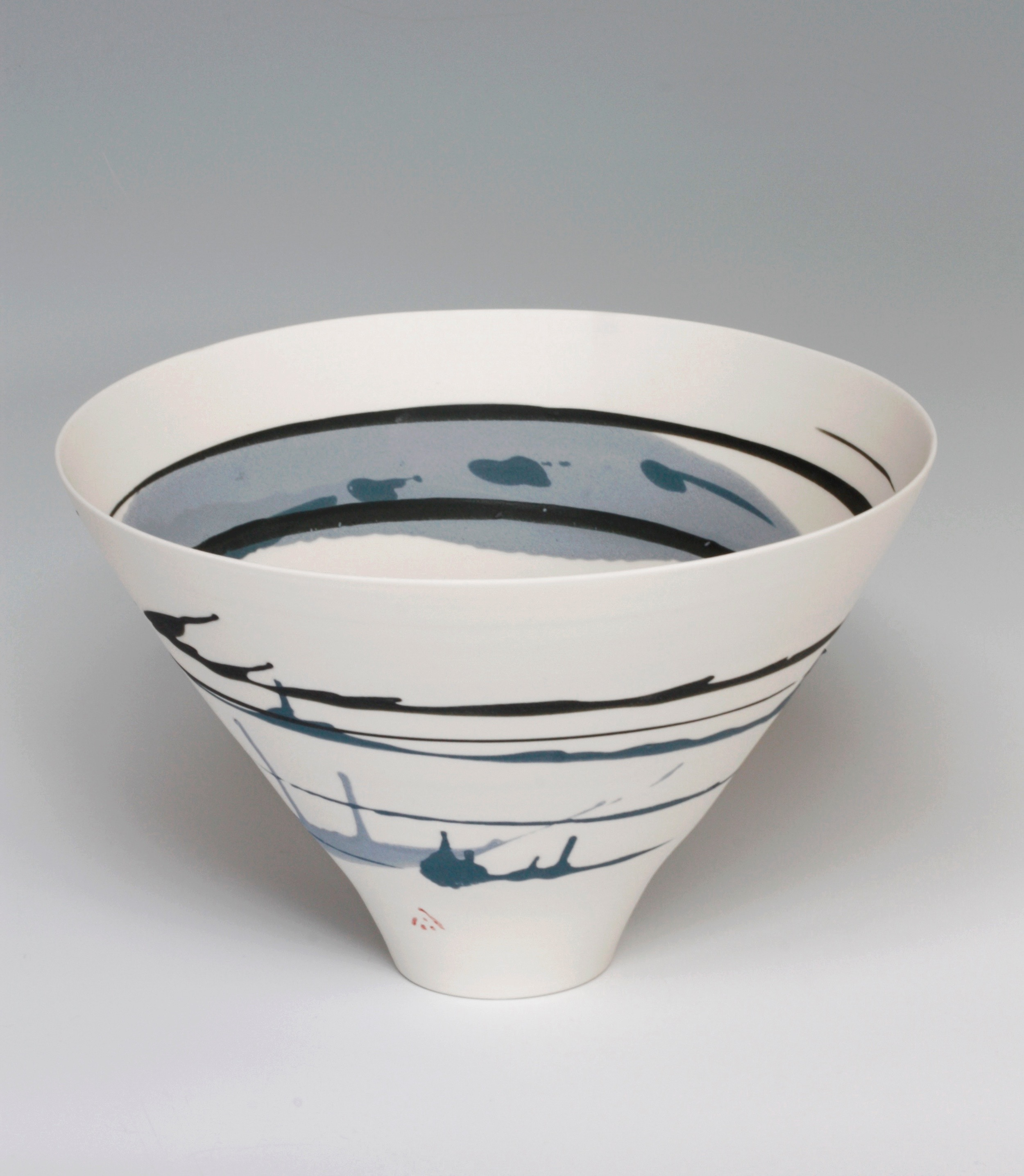 Ali Tomlin, Bowl with Blue Splashes, Thrown Porcelain, H 22cm. Courtesy of Ceramic Art London..jpg