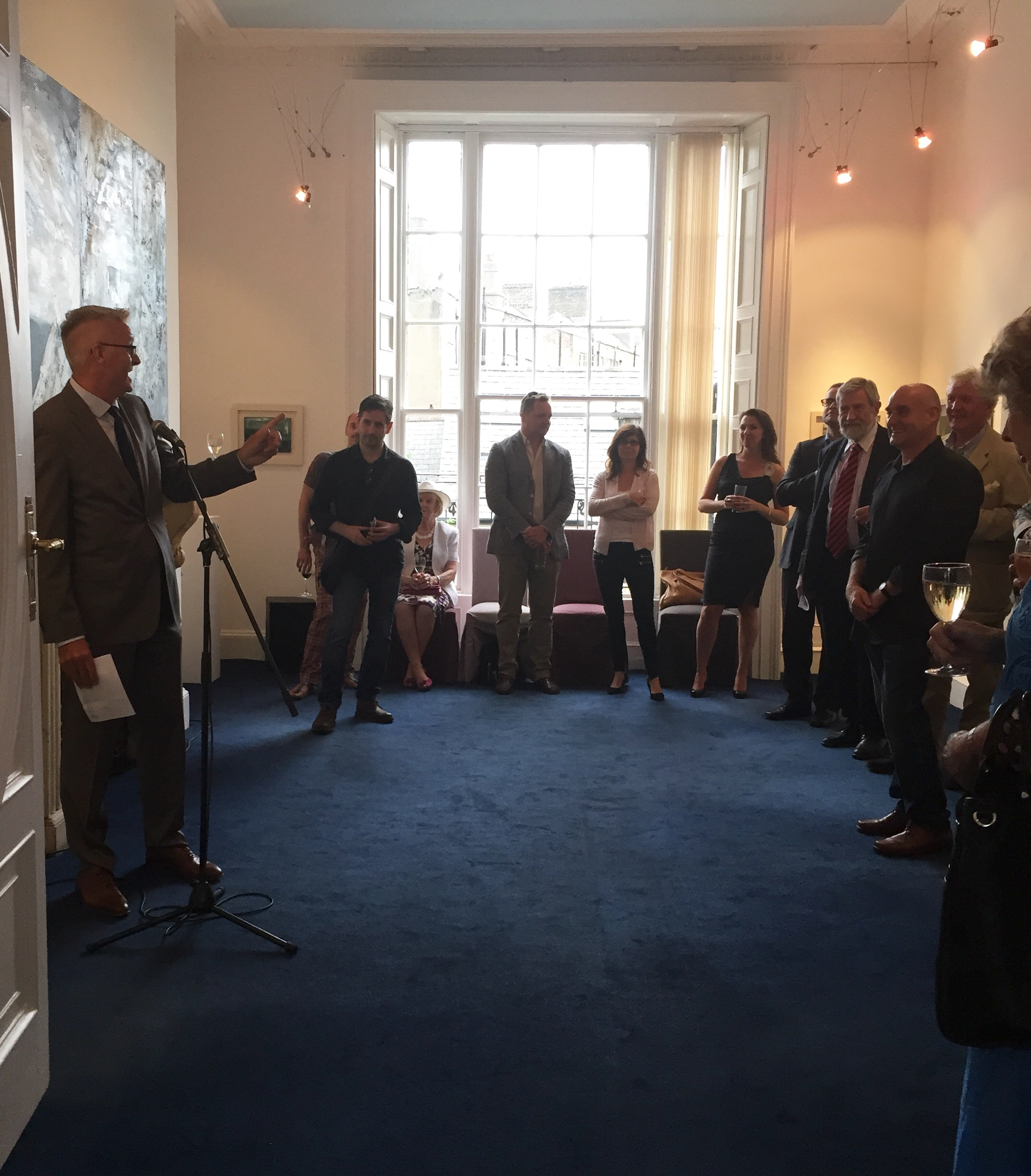 Niall O Donnchu, Assistant Secretary, Department of Arts, Heritage and the Gaeltacht officially opening the exhibition at Origin Gallery, Fitzwilliam Street, Dublin.