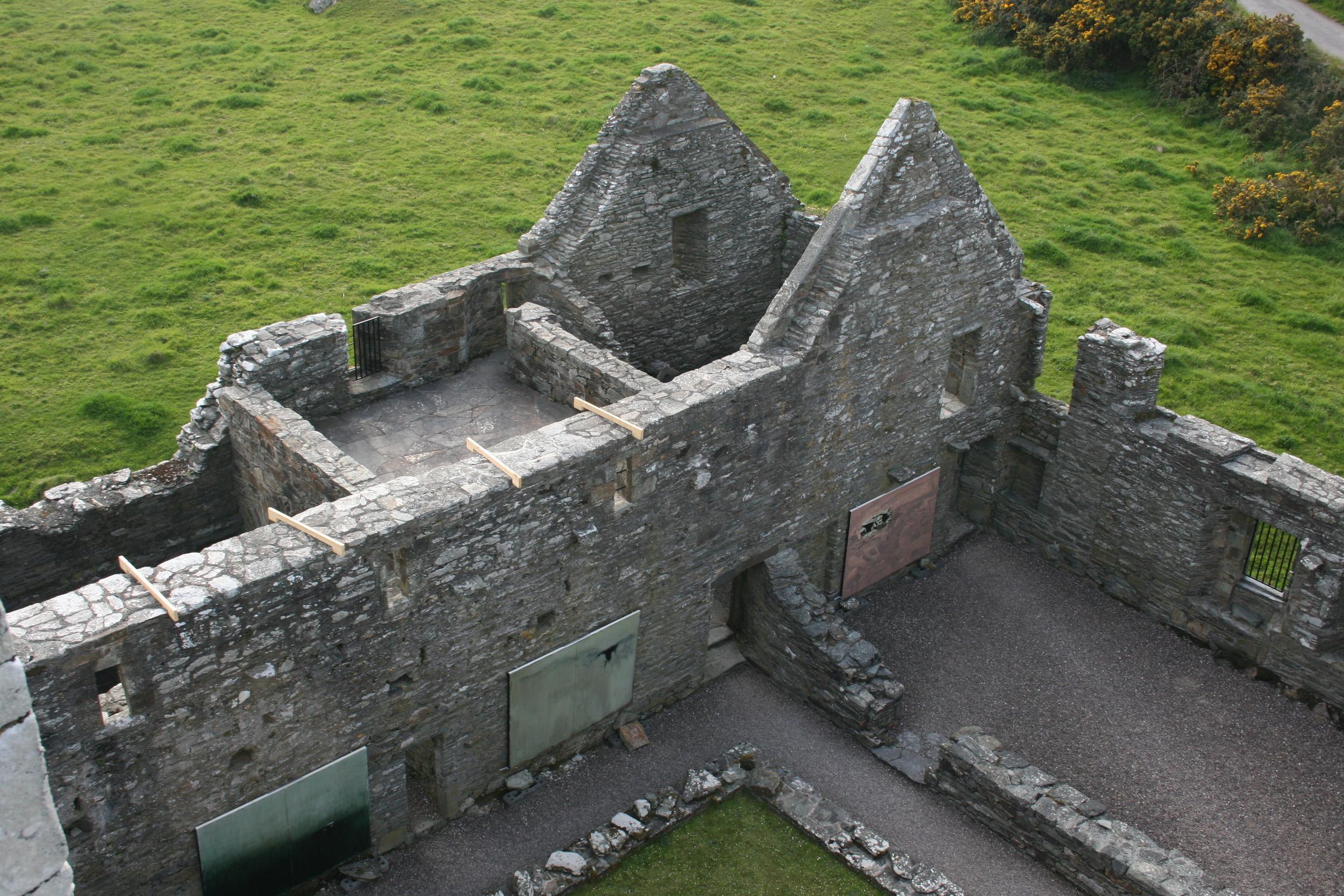 Suspending 'Entrophy & Relic' paintings in Sherkin Abbey, Sherkin Island, West Cork in 2012.