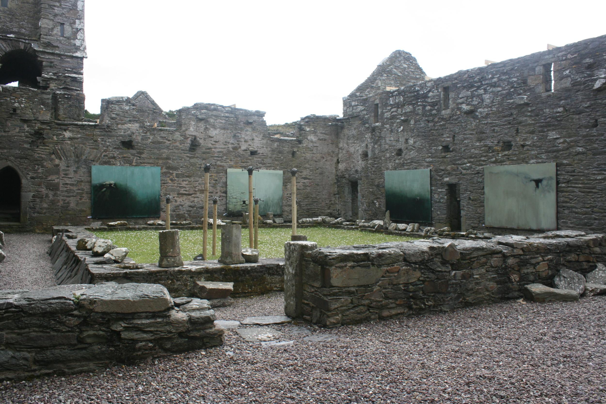 'Entrophy & Relic' paintings hung inside Sherkin Abbey, Sherkin Island, West Cork in 2012.