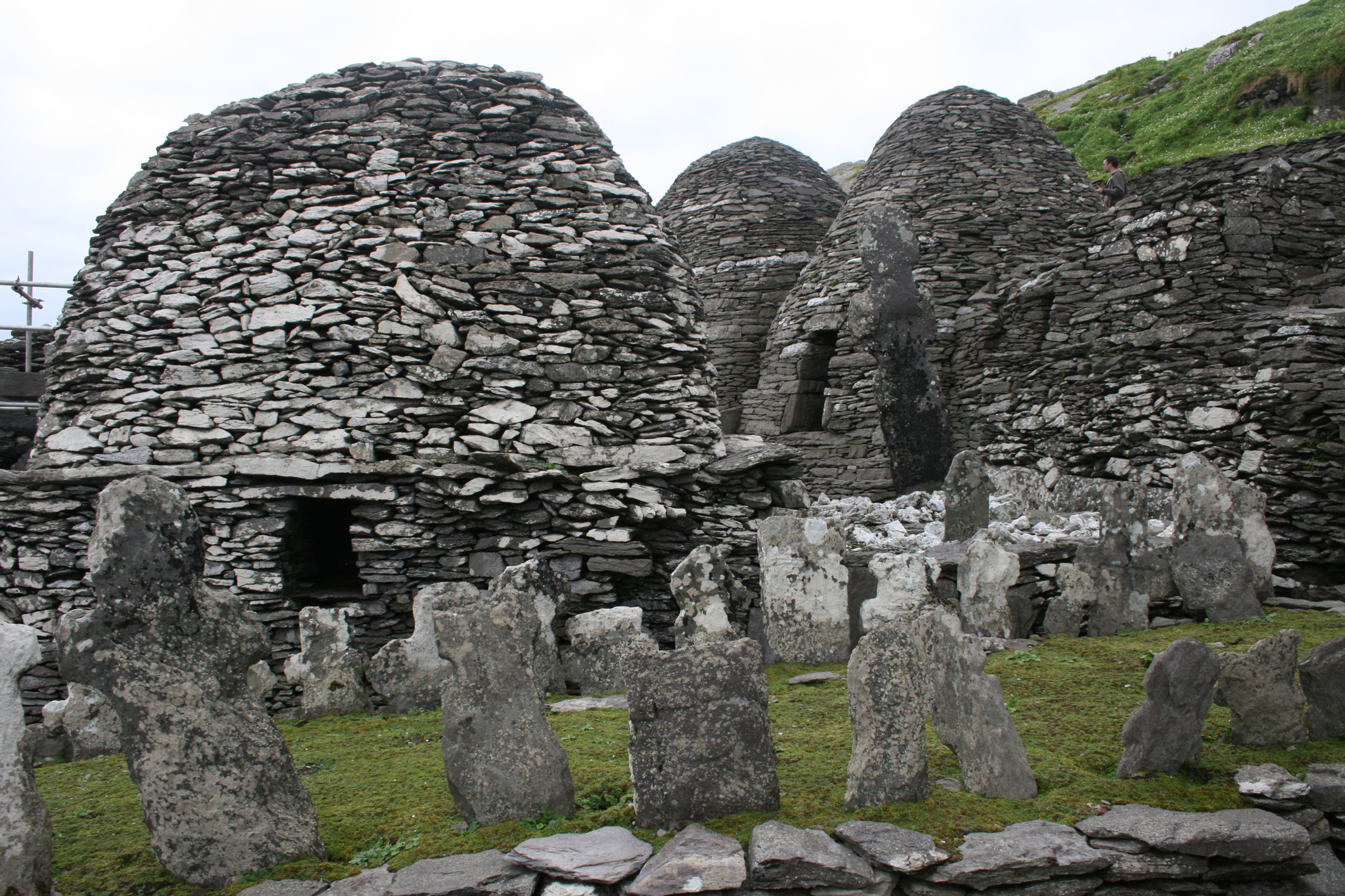 The stone beehive huts inside the monastic settlement on Skellig Michael, Co. Kerry.