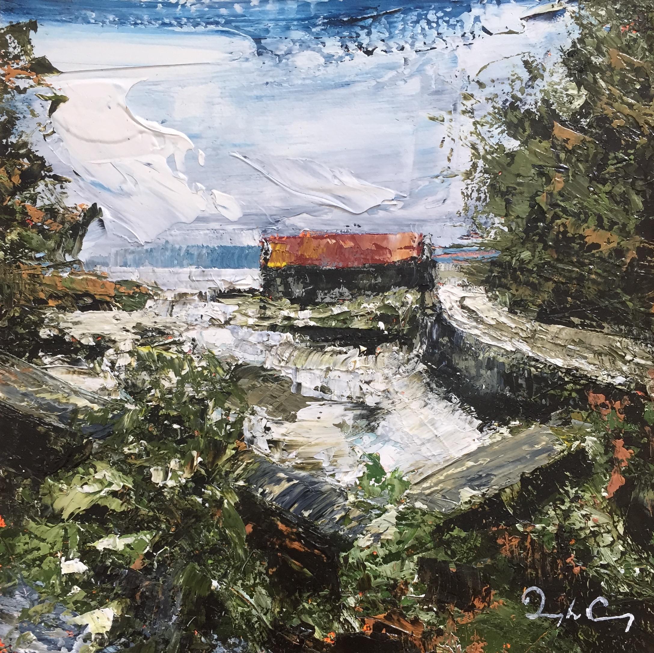 Croagh Inlet Boathouse , oil on board, 15cm x 15cm, 2016