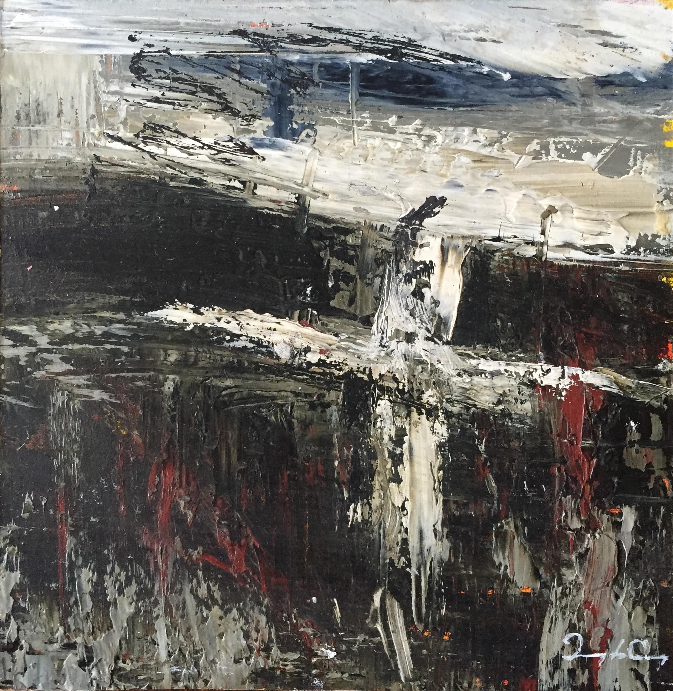 Crossroads  Painting 15cm x 15cm. Frame 40cm x 40cm. Oil on board.  €sold