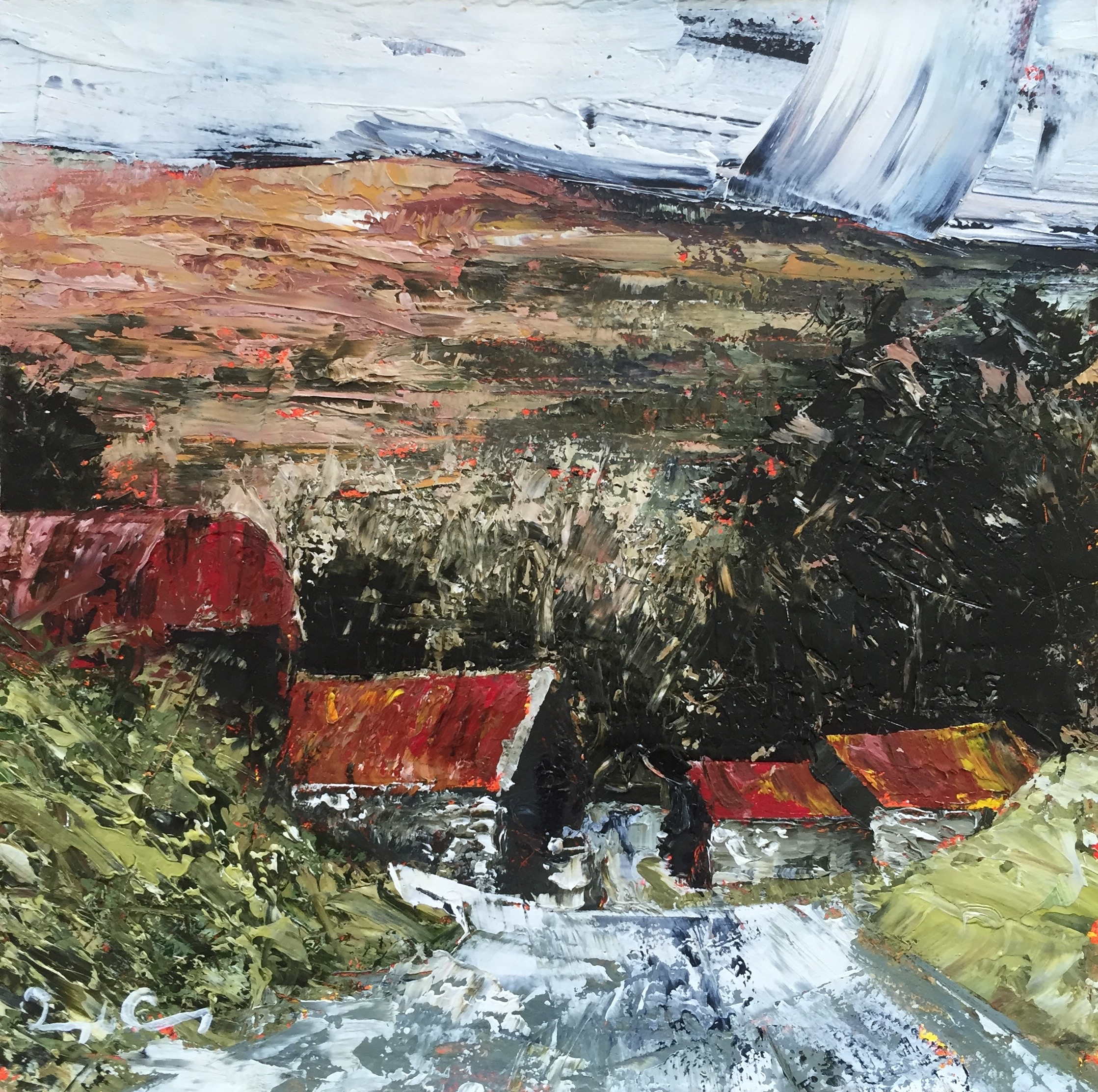 Beyond Castlepoint , oil on board, 15cm x 15cm, 2016