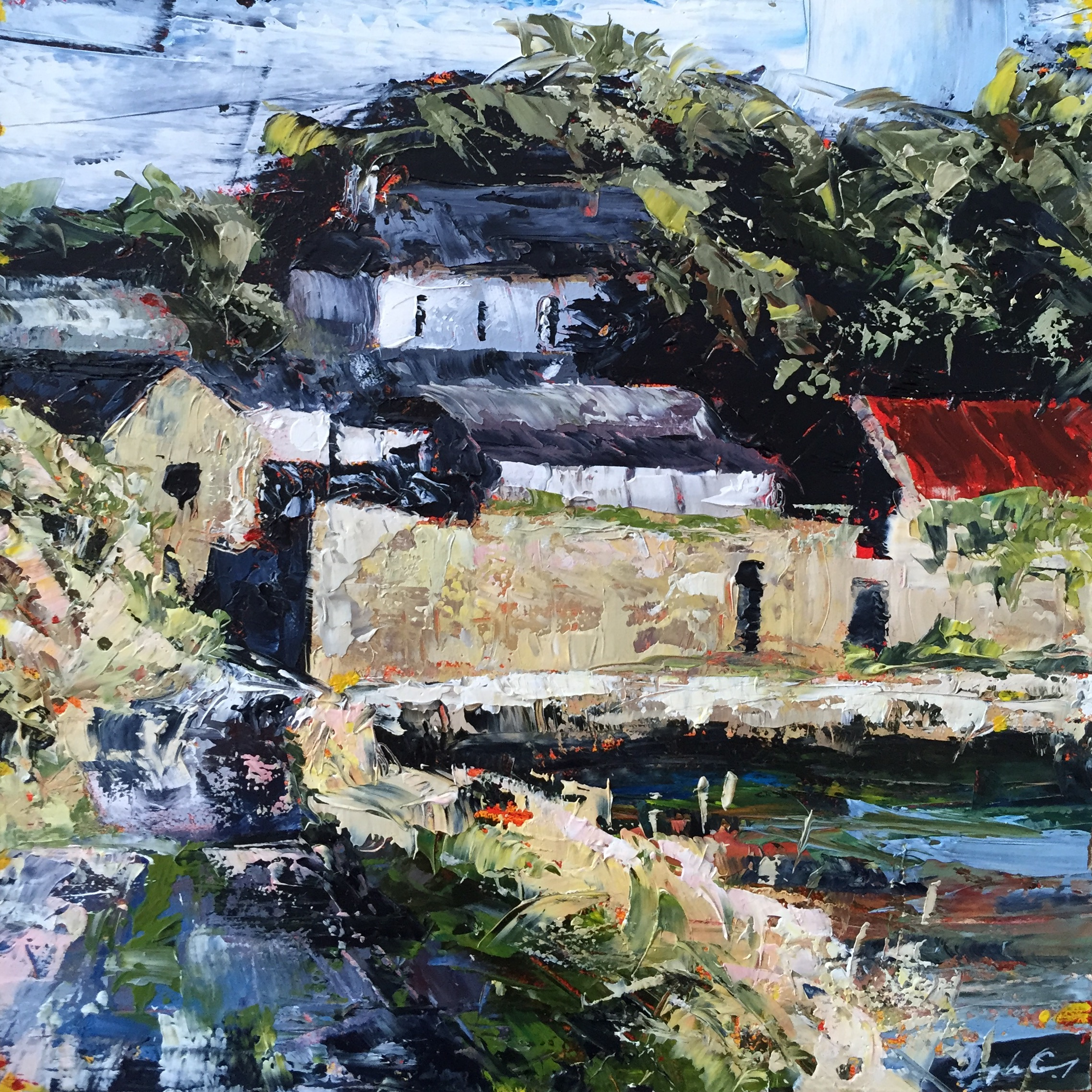 Tim's Farm, Evening ll , oil on board, Painting 15cm x 15cm, Framed 40cm x 40cm
