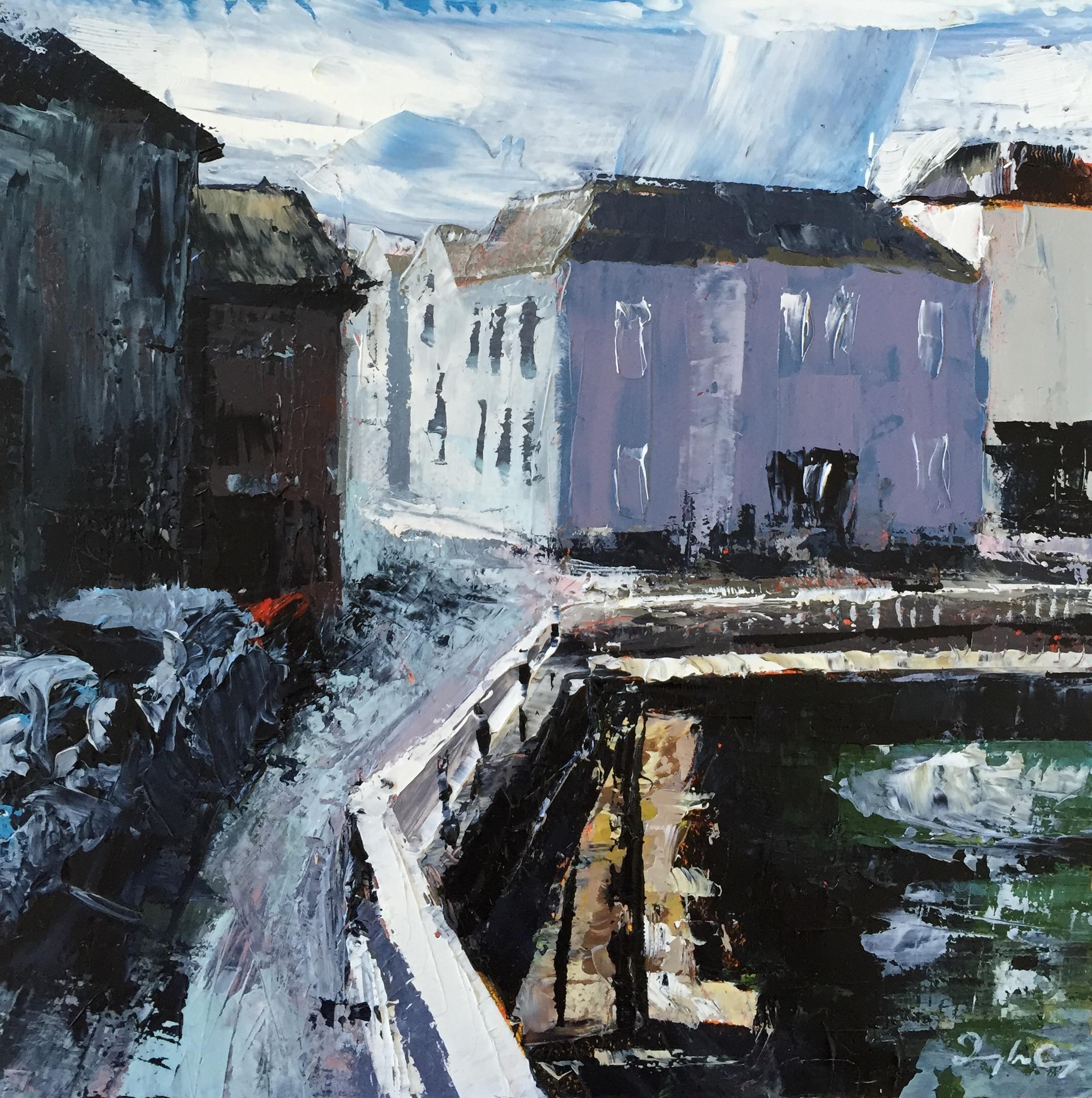 George's Quay, Cork  Oil Sketch, Painting 15cm x 15cm, Frame 40cm x 40cm €295