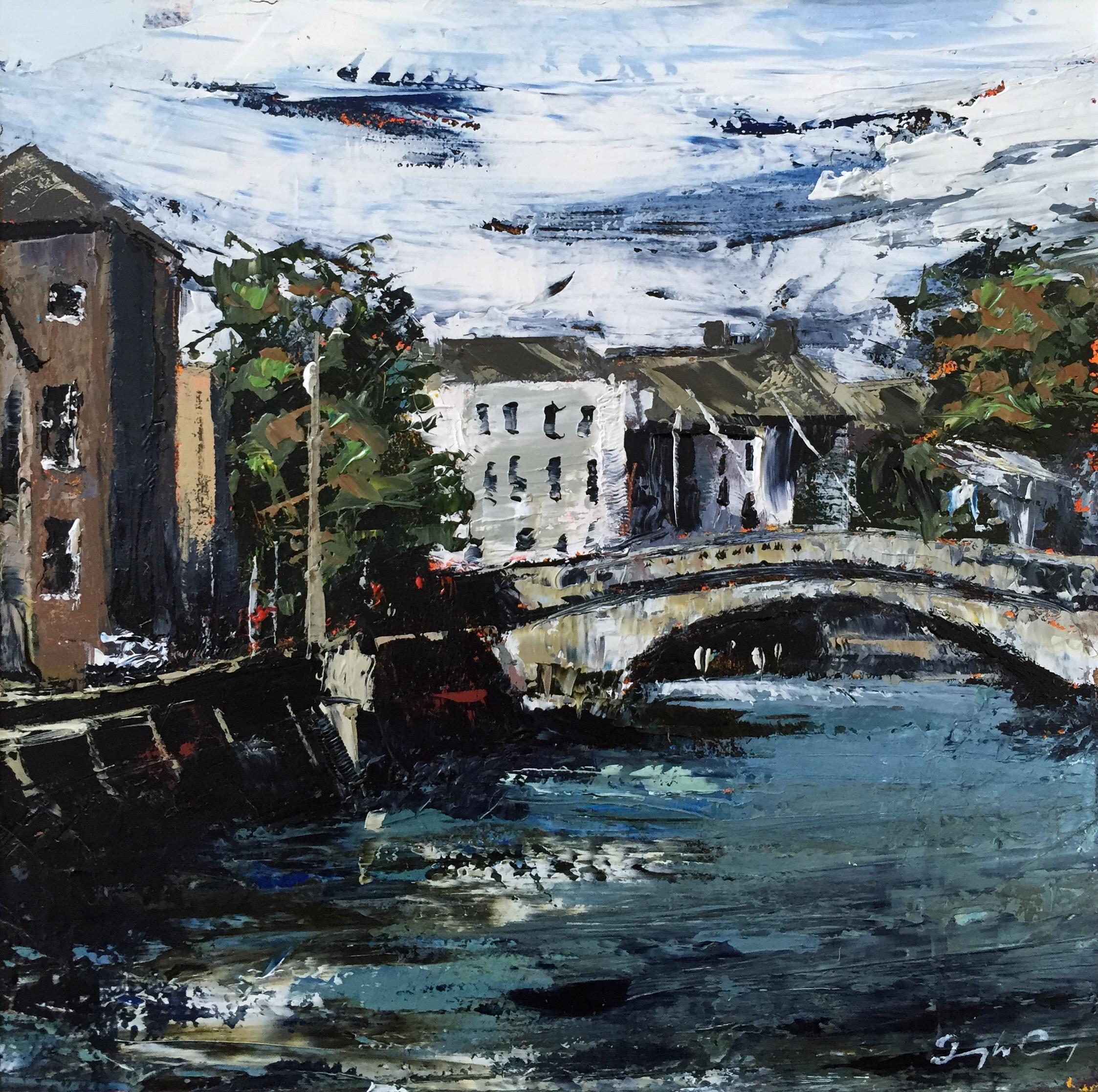 Parliament Bridge  Oil on board, Painting 15cm x 15cm, Frame 40cm x 40cm €sold