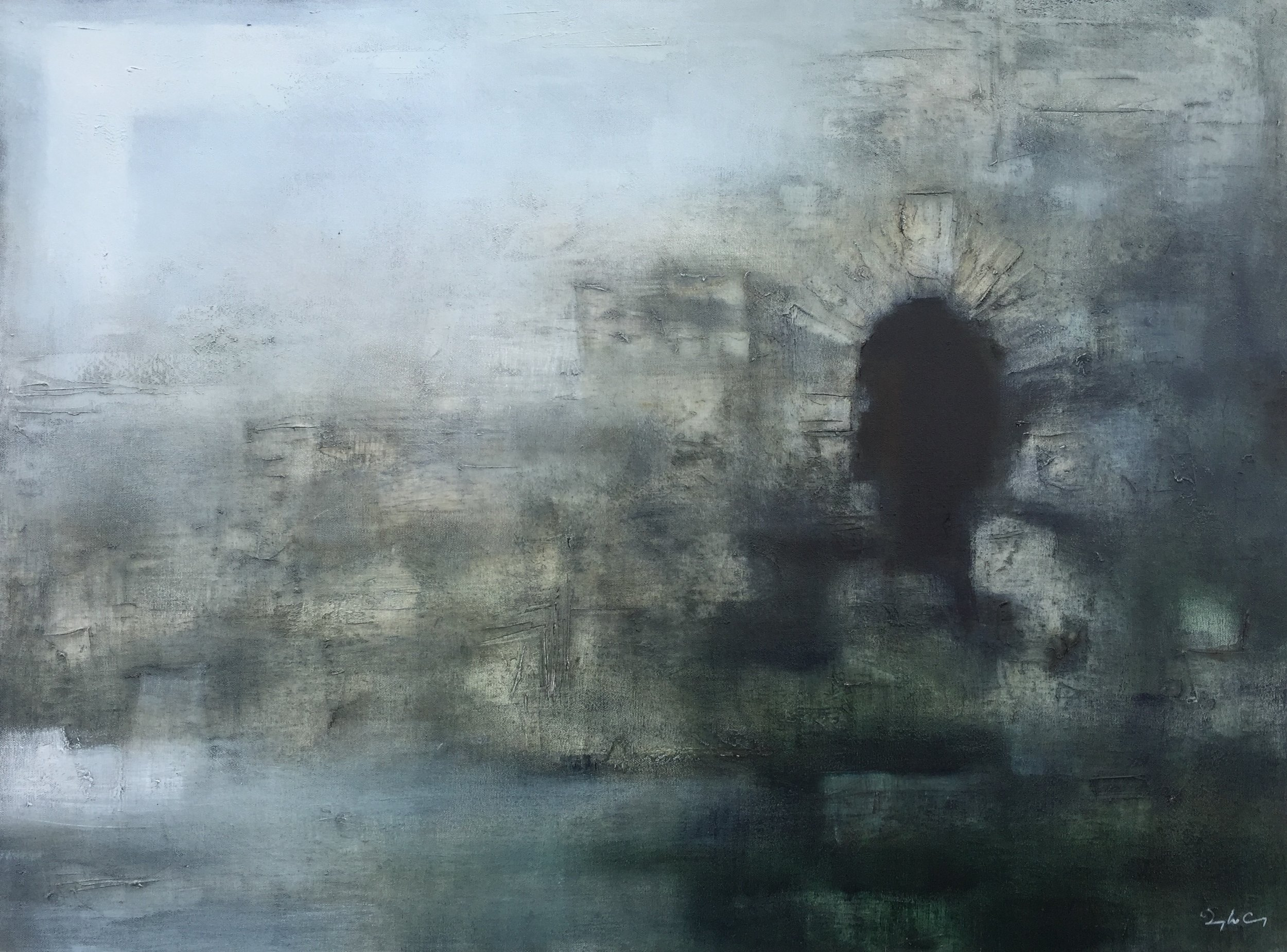 Mural Tower oil on canvas, painting 75cm x 100cm, frame 80cm x 105cm, €2,200