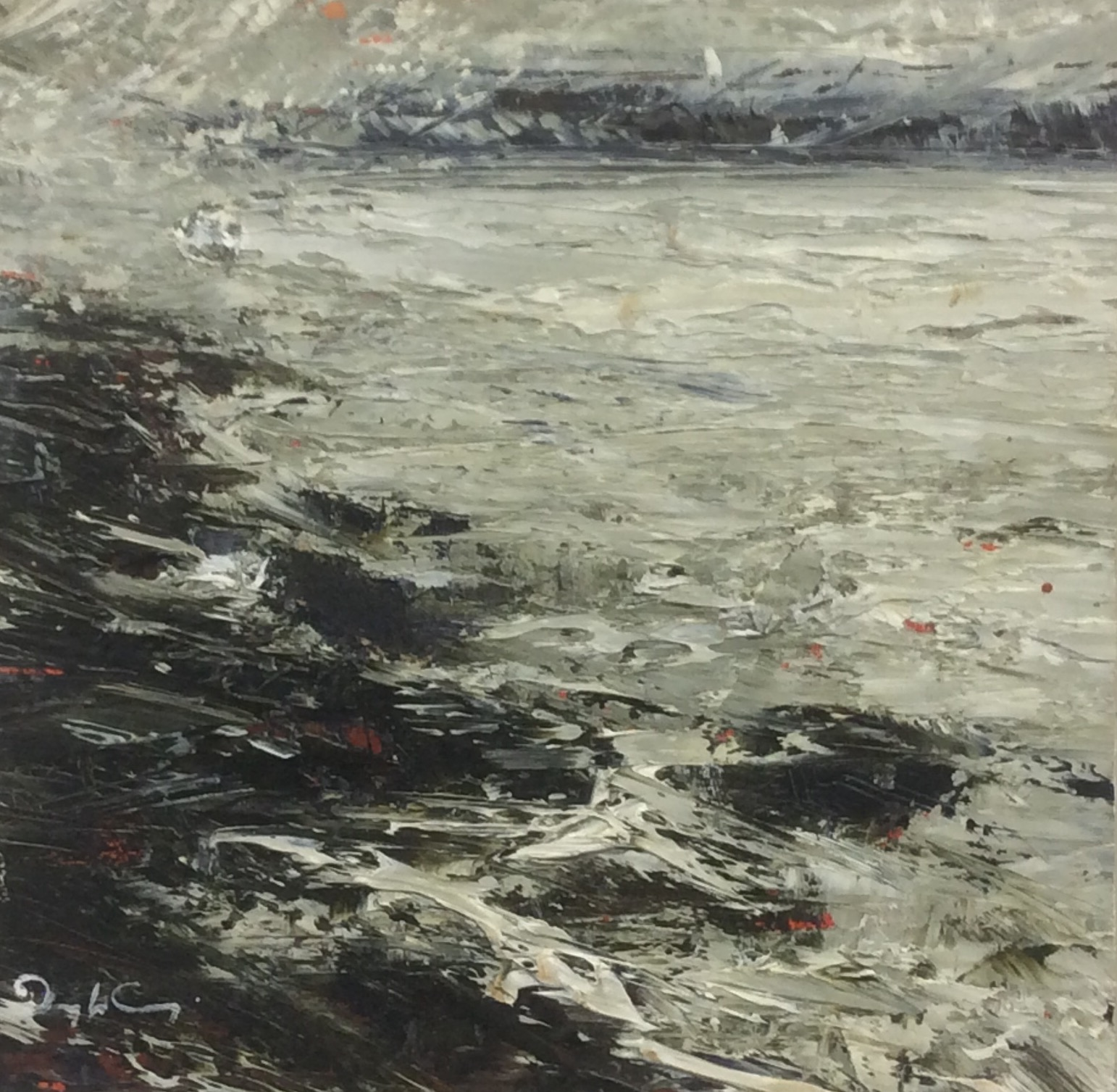 Wind and Tide  Painting 14cm x 14cm. Oil on board.