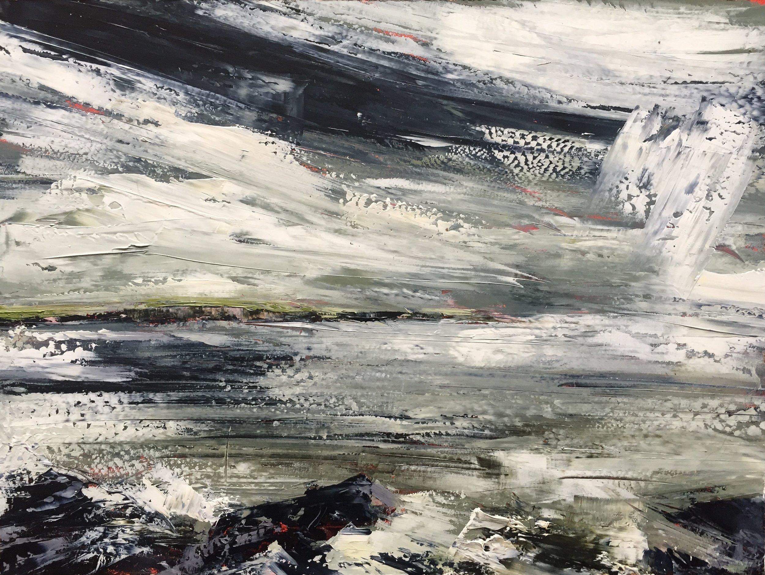 Storm, Crewe Bay  Painting 23cm x 30cm. Frame 47cm x 55cm. Oil on board.  €595