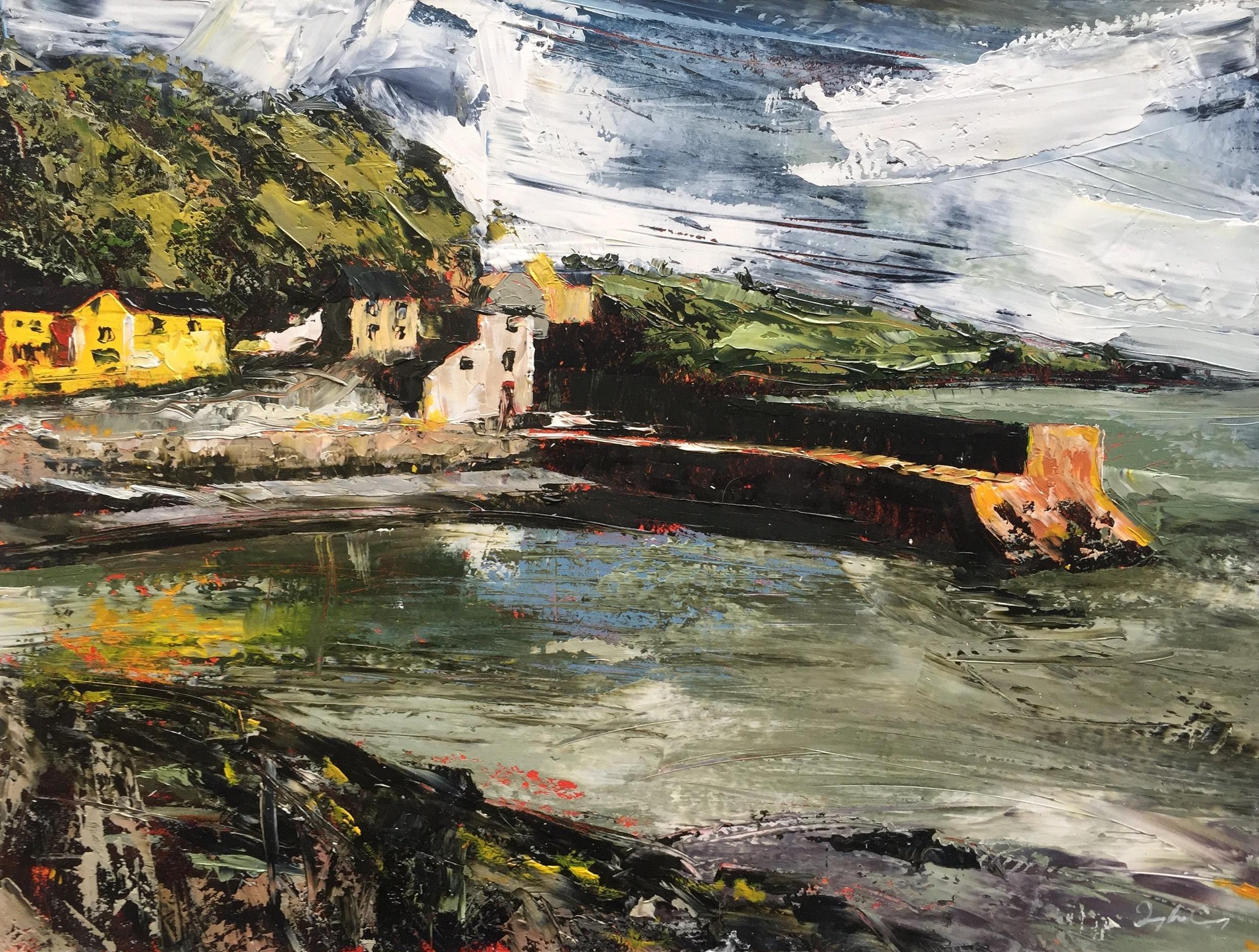 The Pier, Glandore  Painting 23cm x 30cm. Frame 47cm x 55cm. Oil on board.  €595