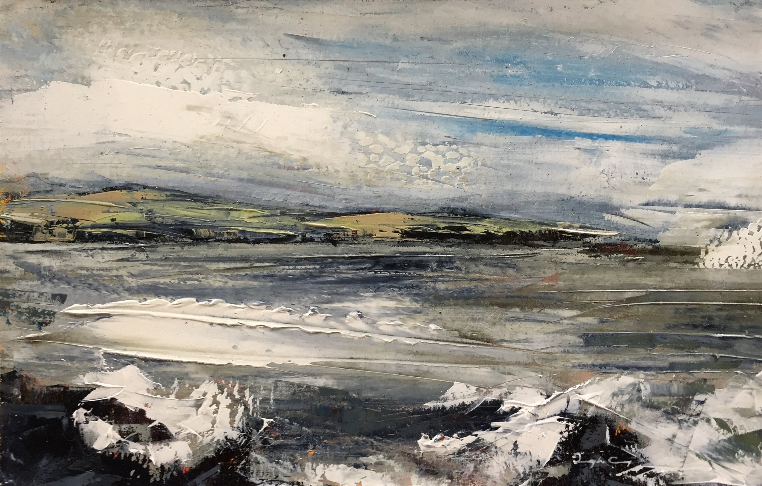 Crewe Bay, April 2018 ll  Painting 14cm x 22.5cm. Oil on board.