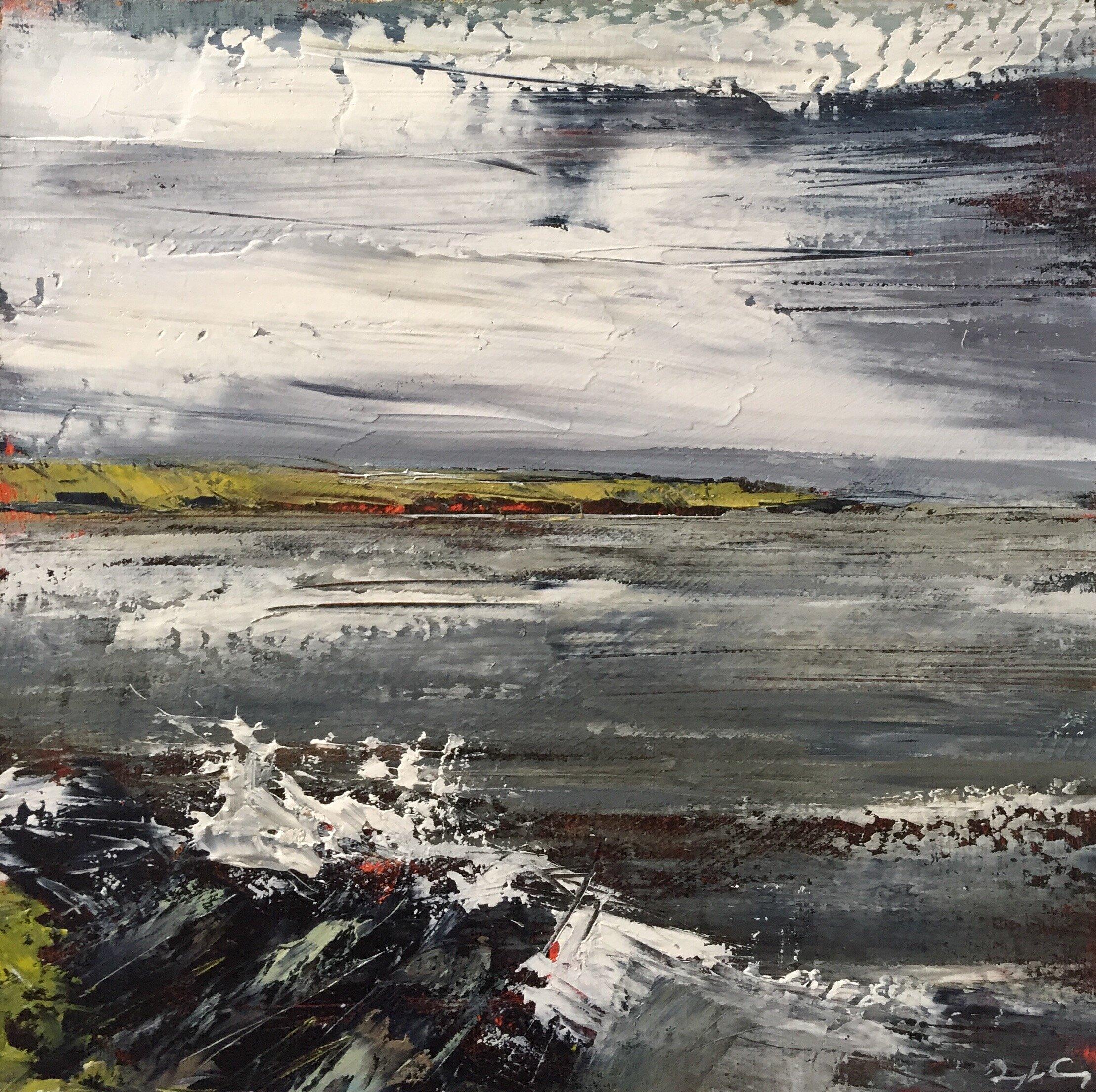 Crewe Bay, Summer 2019 IV  Painting 15cm x 15cm. Frame 40cm x 40cm. Oil on board.  €295