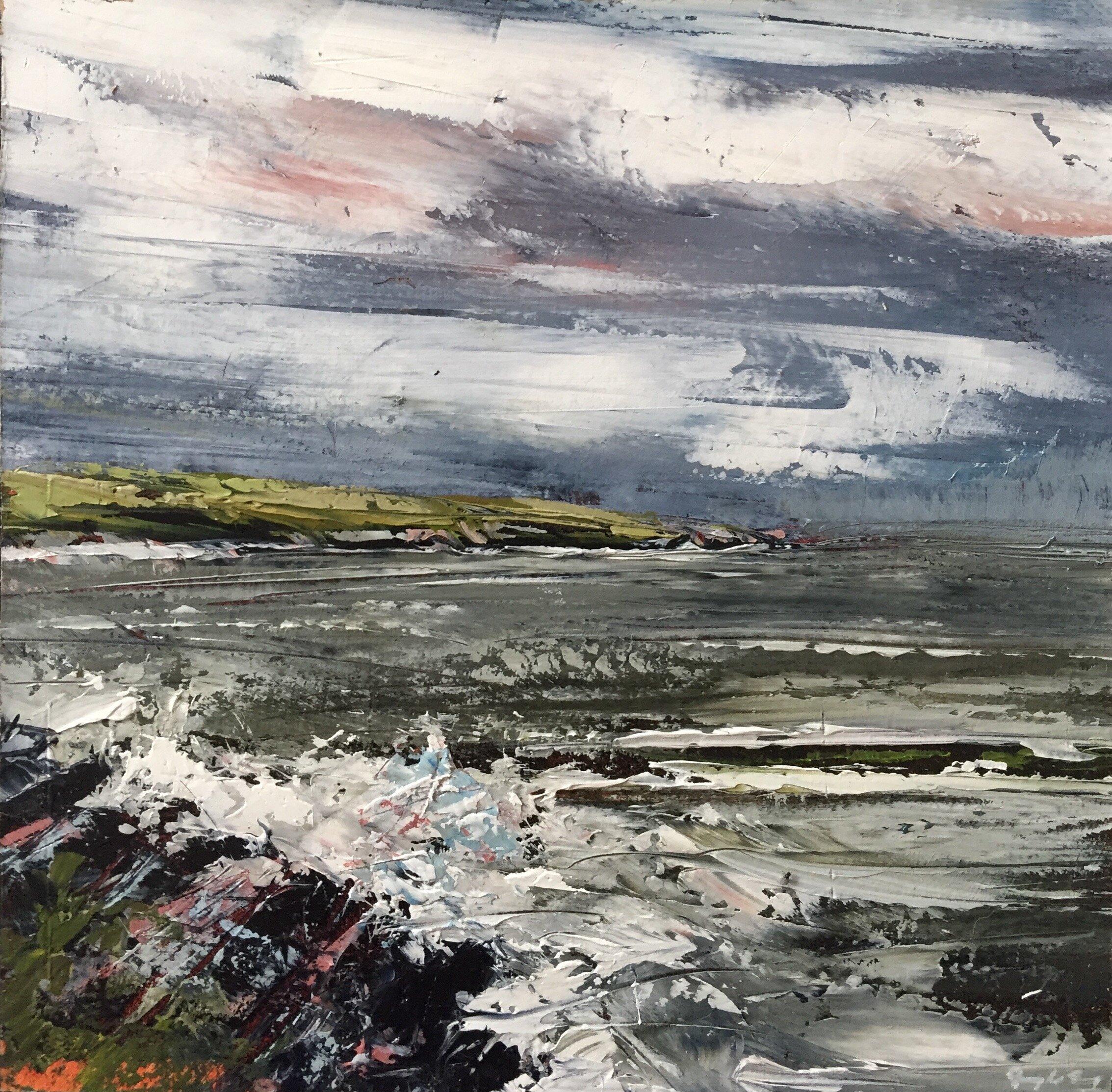 Crewe Bay, Summer 2019 VI  Painting 15cm x 15cm. Frame 40cm x 40cm. Oil on board.  €295