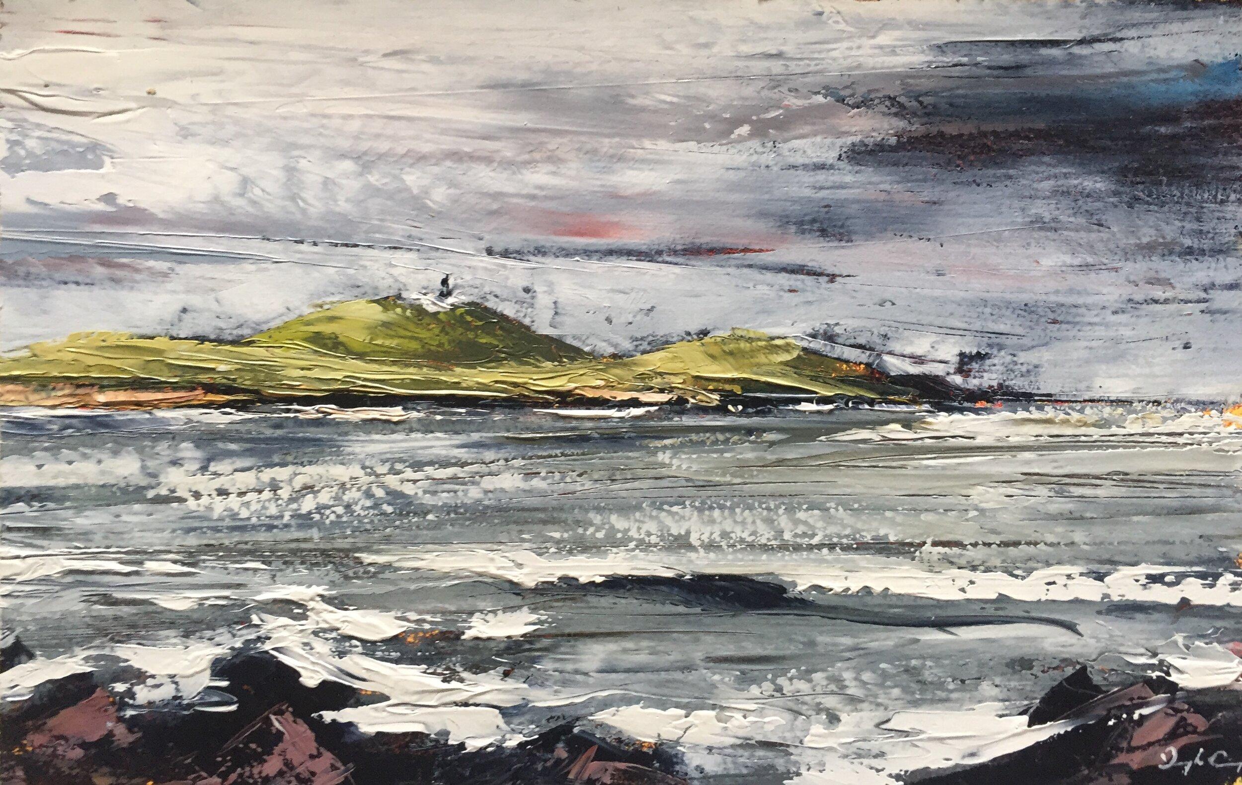 Ballycotton Lighthouse ll  Painting 14cm x 22cm. Frame 26cm x 34cm. Oil on board.  €280