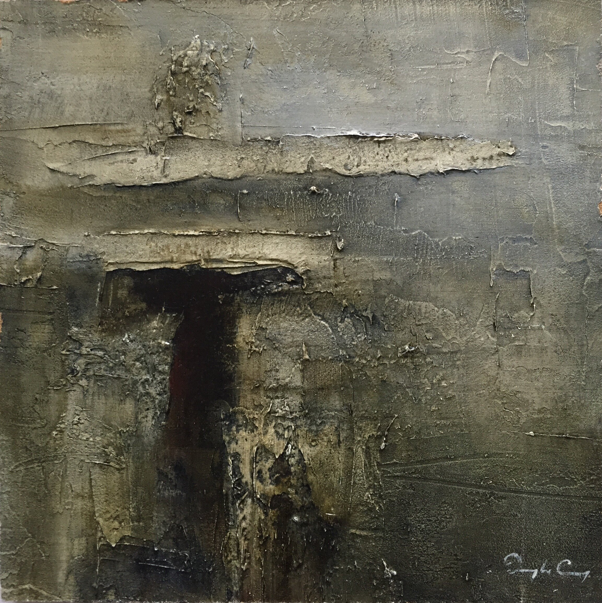 Entrance, Epoch III  Painting 15cm x 15cm. Frame 40cm x 40cm. Oil on board.  €345
