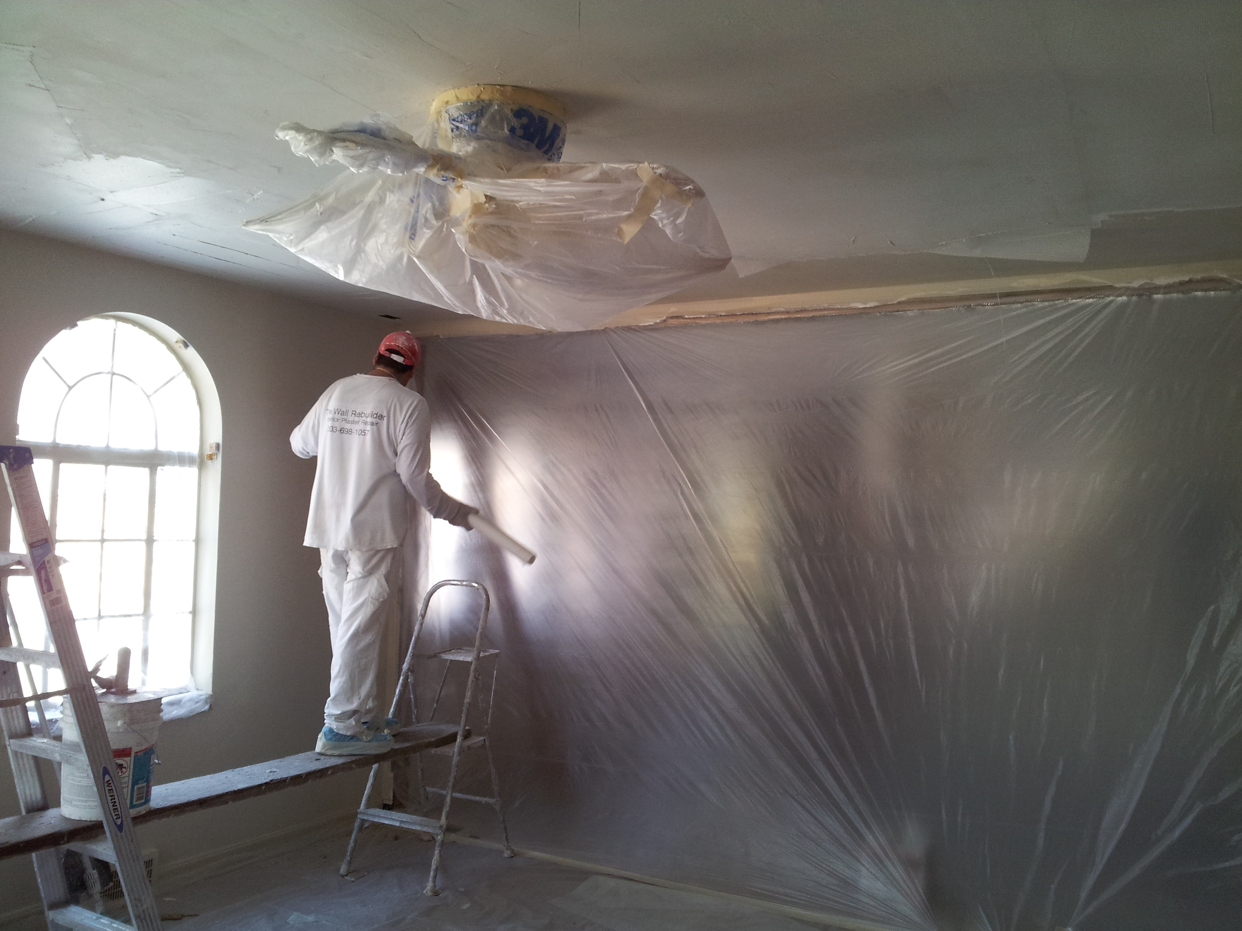 Re-skimming and mesh reinforcing lath and plaster ceilings