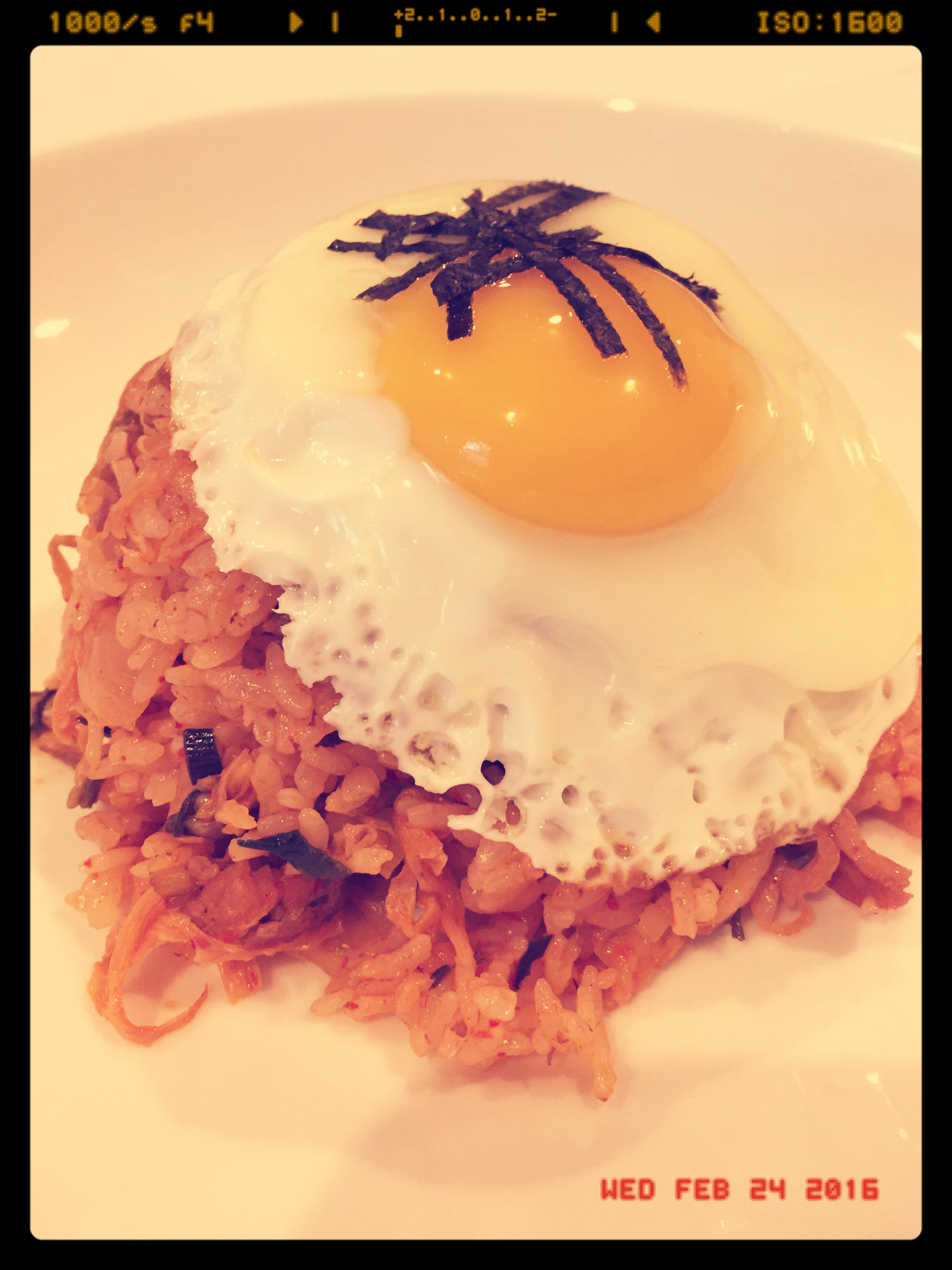 Our addictive Kimchi Fried Rice posing for a close-up