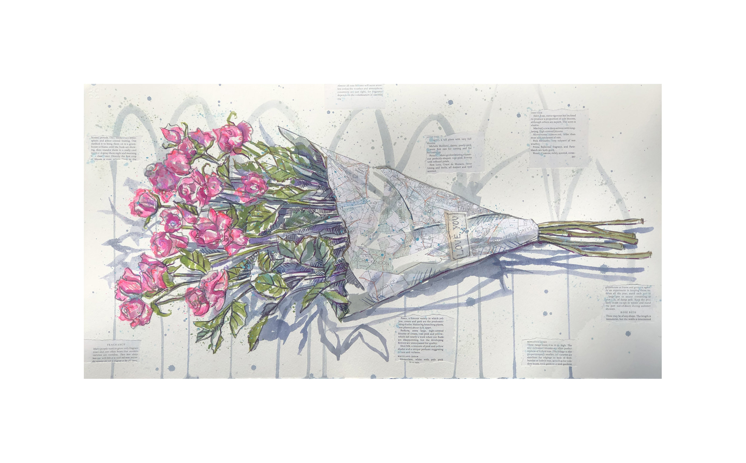Henley Flowers 'Love you' print, available for free delivery in the UK mounted or rolled