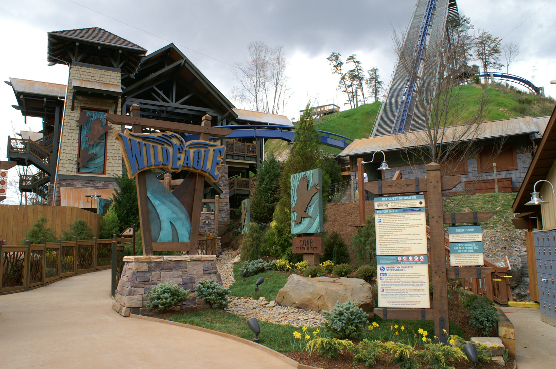 wild eagle roller coaster informational signage dollywood pigeon forge, tn