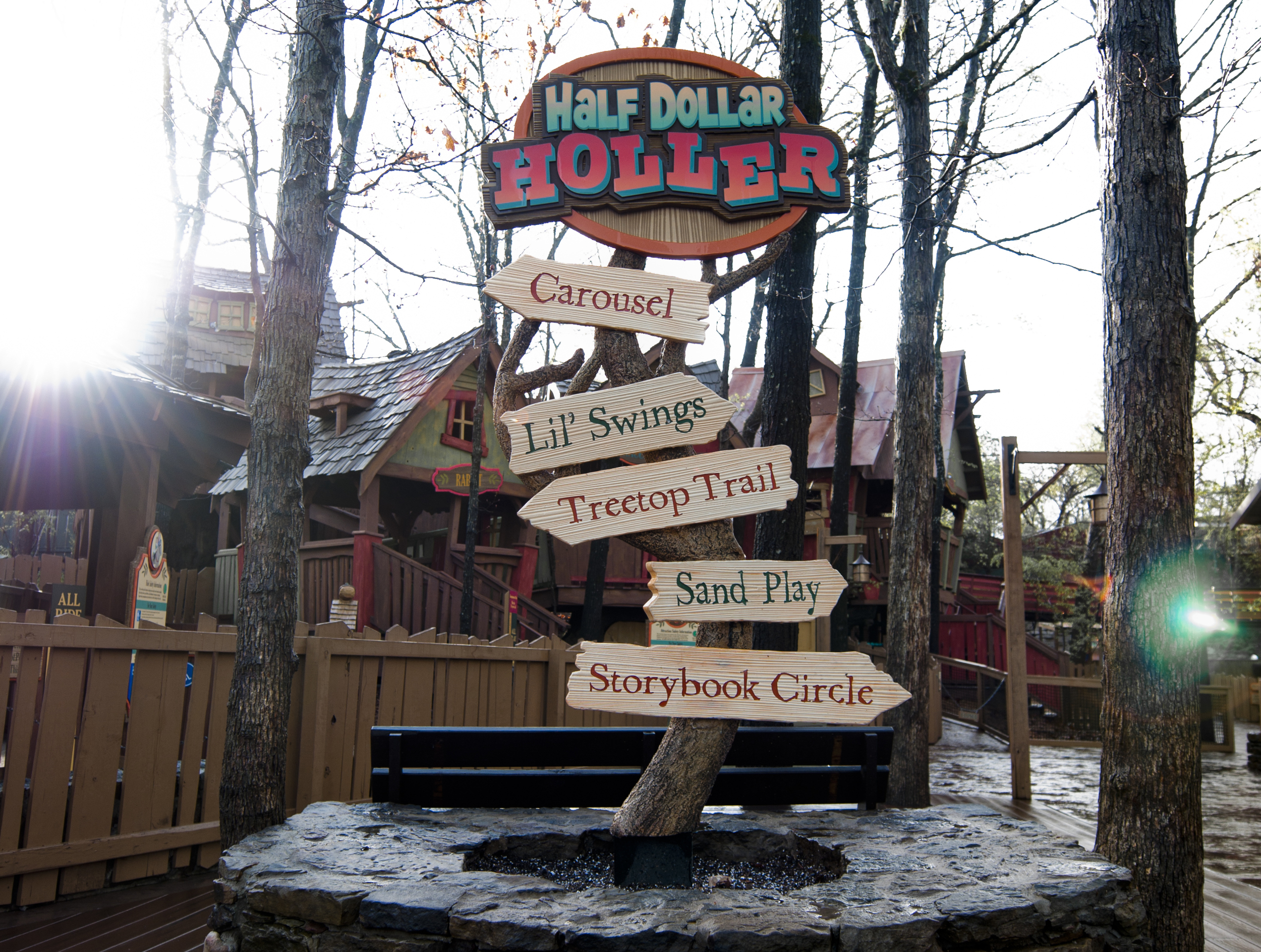 machine and hand carved hdu and wooden themed sign silver dollar city branson, mo