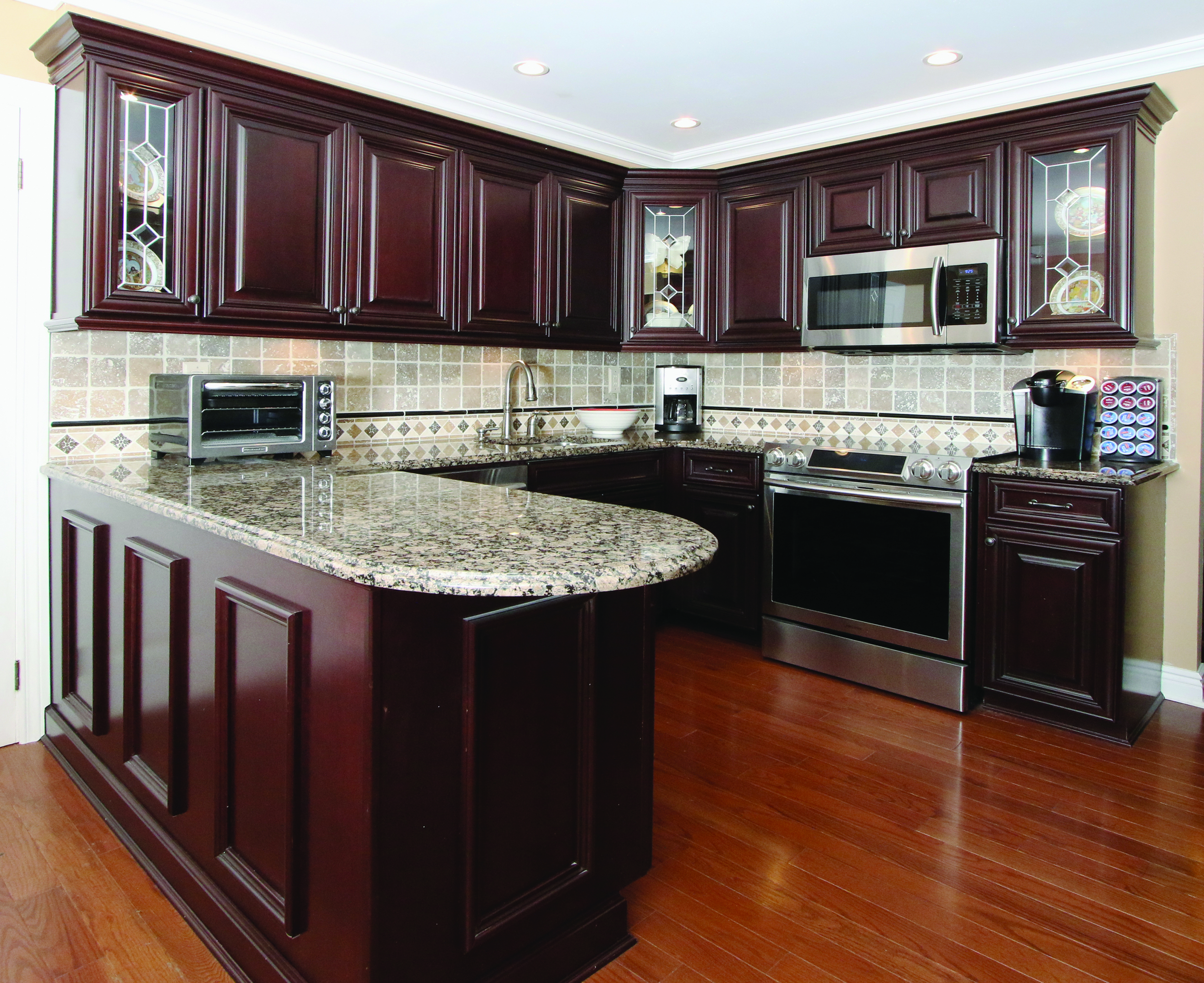 Custom kitchen cabinets provide more ­storage and an updated feel.