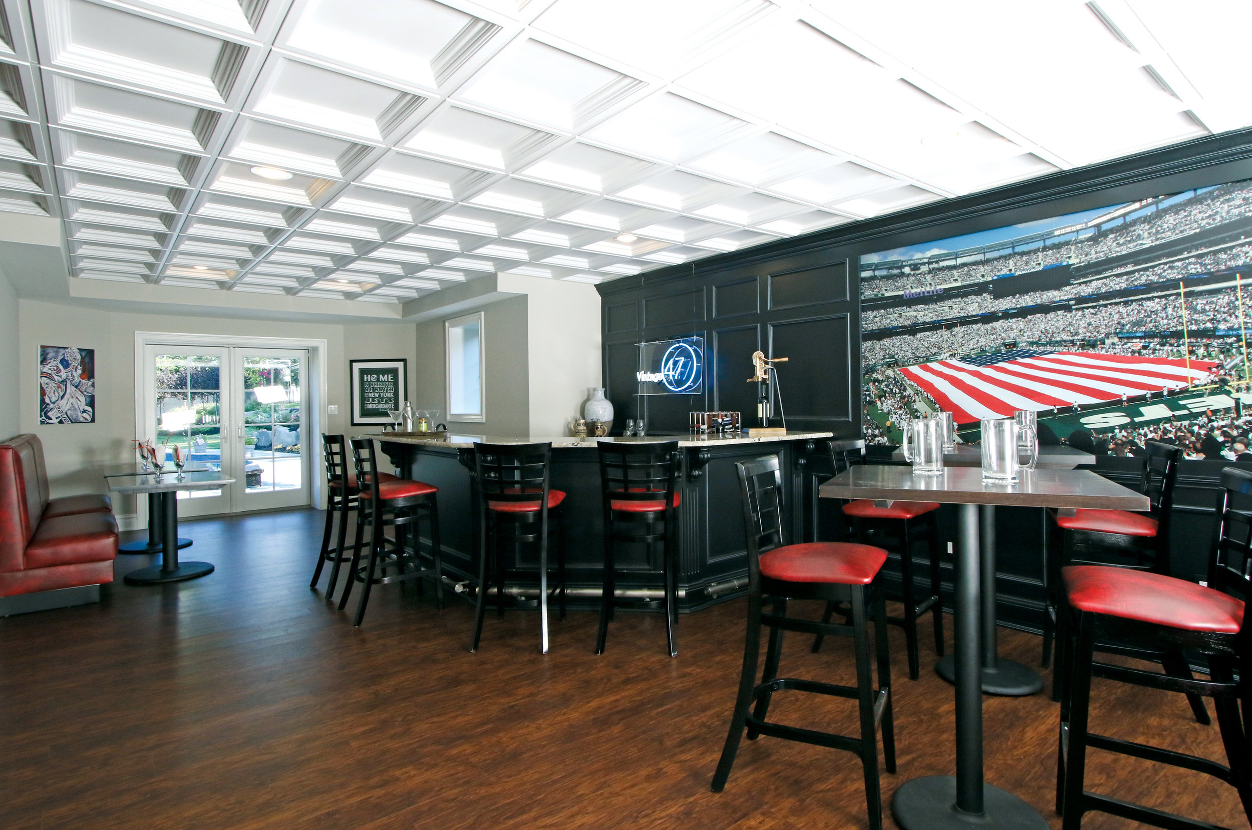 The bar area reflects the sports theme throughout