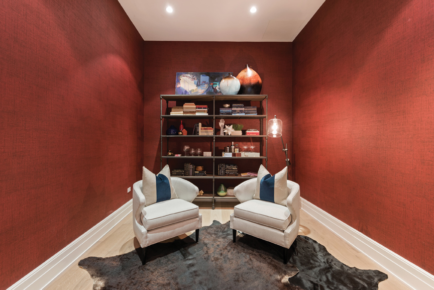 Too often, people save daring colors like red only for one accent wall. Here the entire room is a bold, warm red and it fits the space well – communicating a luxurious, alluring sensation to all who enter.
