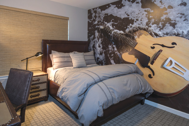 Son, Hayden's room reflects his love of music and guitars specifically.