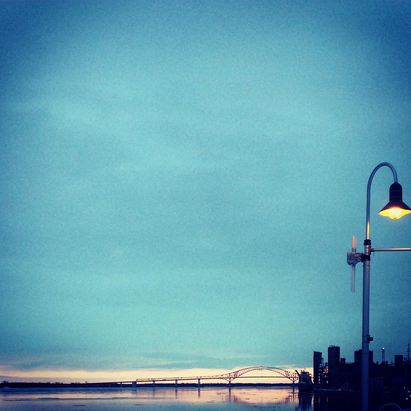 Sunset over the Pont Laviolette Bridge in Trois-Rivières