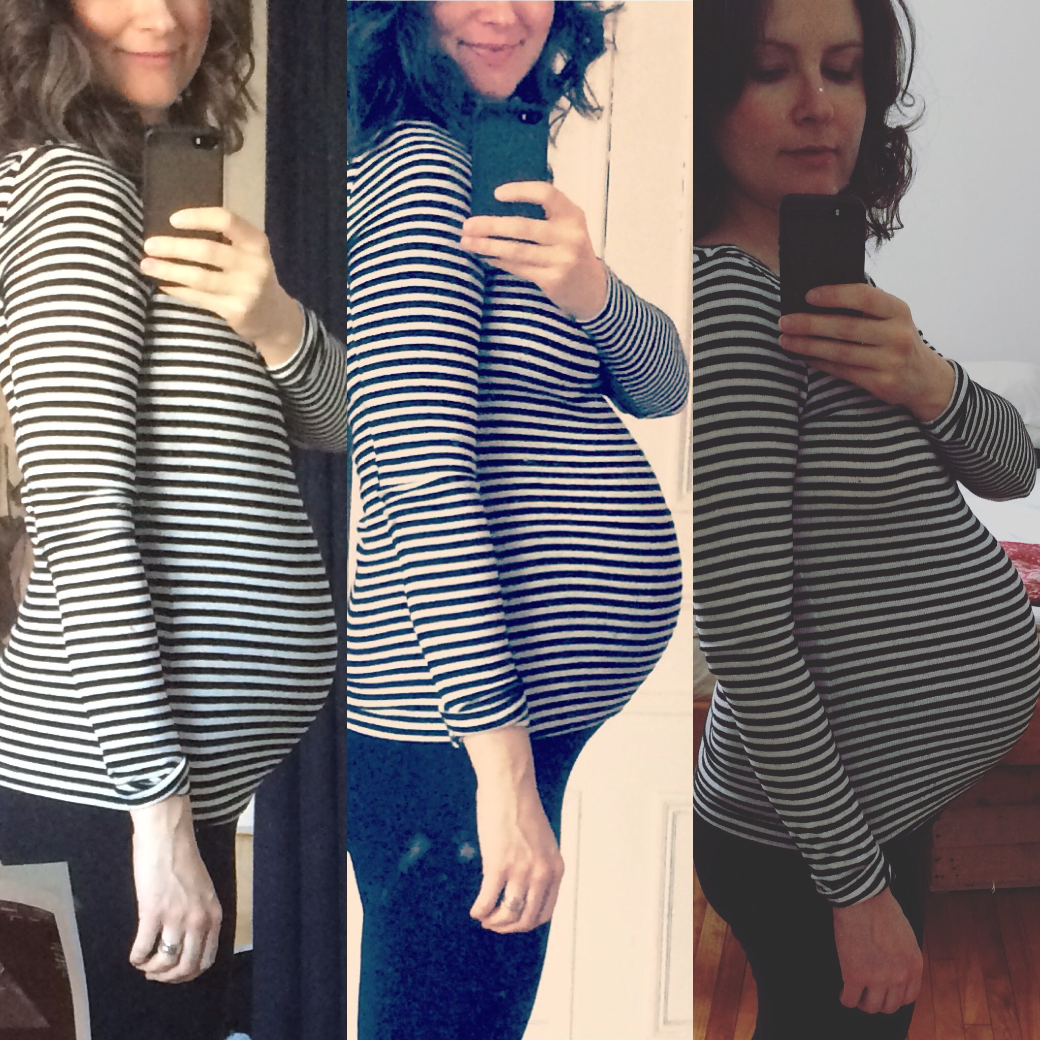 Baby bump progress! From left: 6 months, 7 months, 8 months! Though as of today, I'm about two weeks even further along.