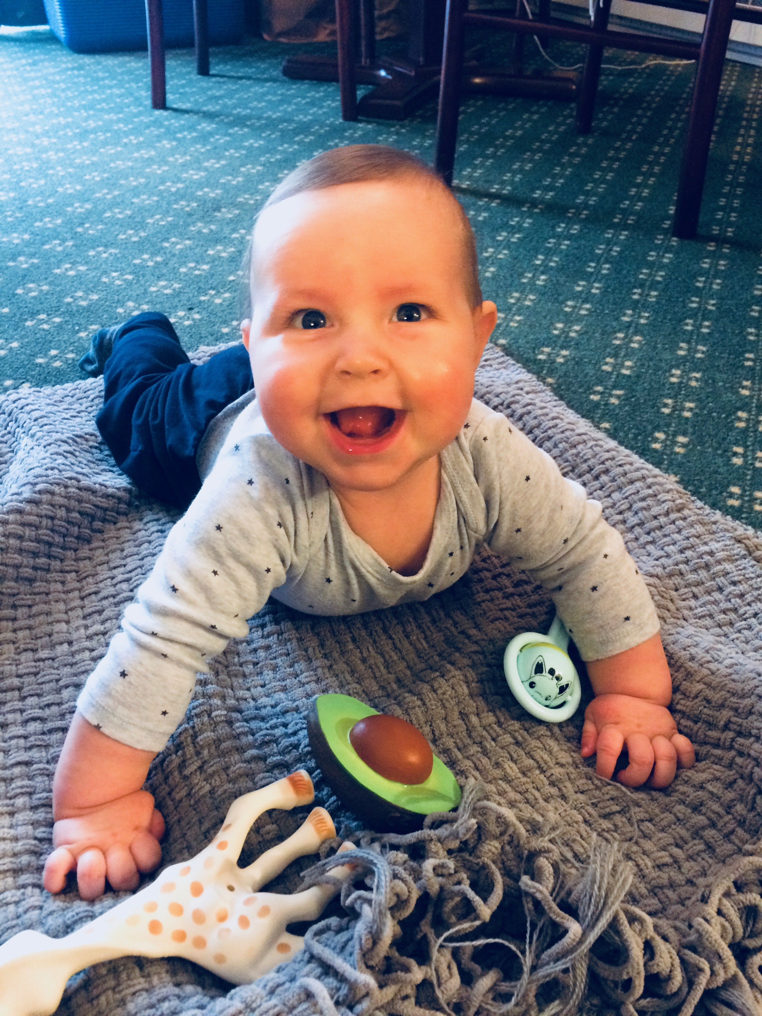 Benji enjoying some tummy time in one of the hotels. At least somebody was having a good time!