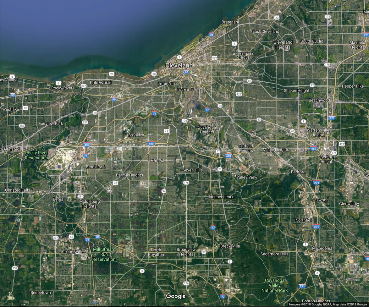 In Cleveland, the development is much denser and centrally located.