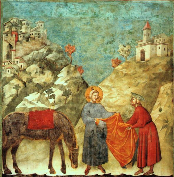 """""""St. Francis Giving His Mantle to a Poor Man,"""" by Giotto, found in Upper Church of Basilica di San Francesco in Assisi"""
