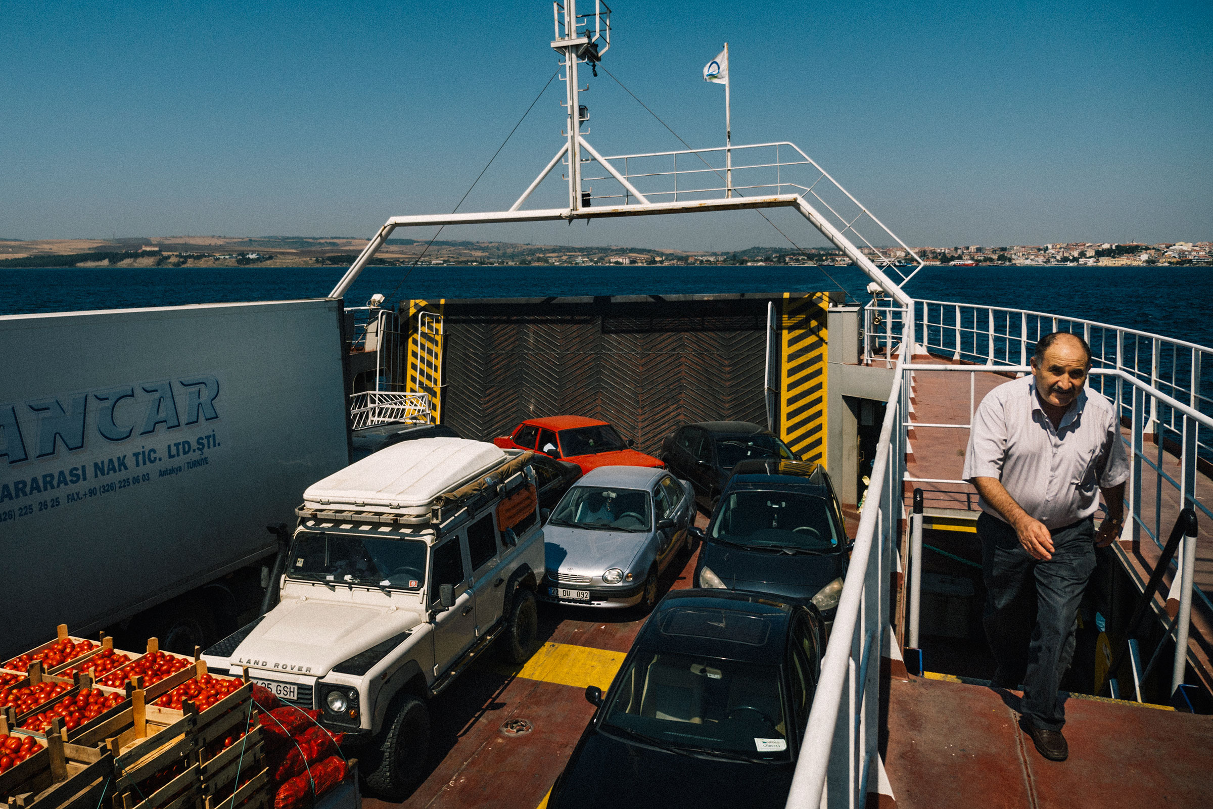 Landrover Defender on a Ferry